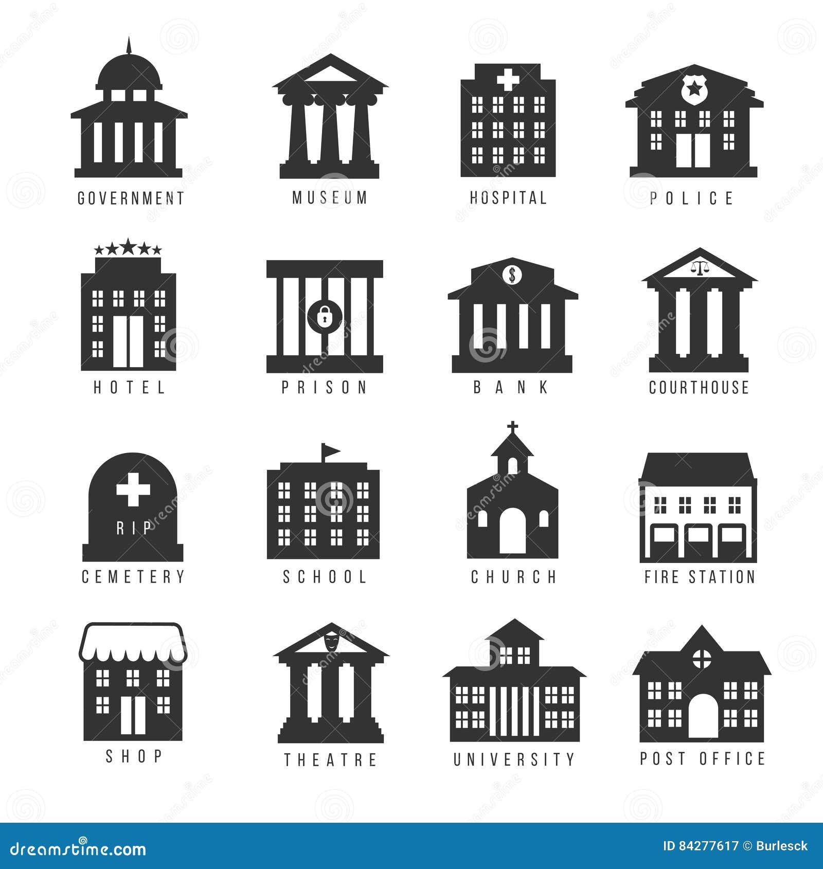 Sistema del icono del edificio del gobierno Vector los edificios como la universidad, la oficina de policía y el ayuntamiento, mu