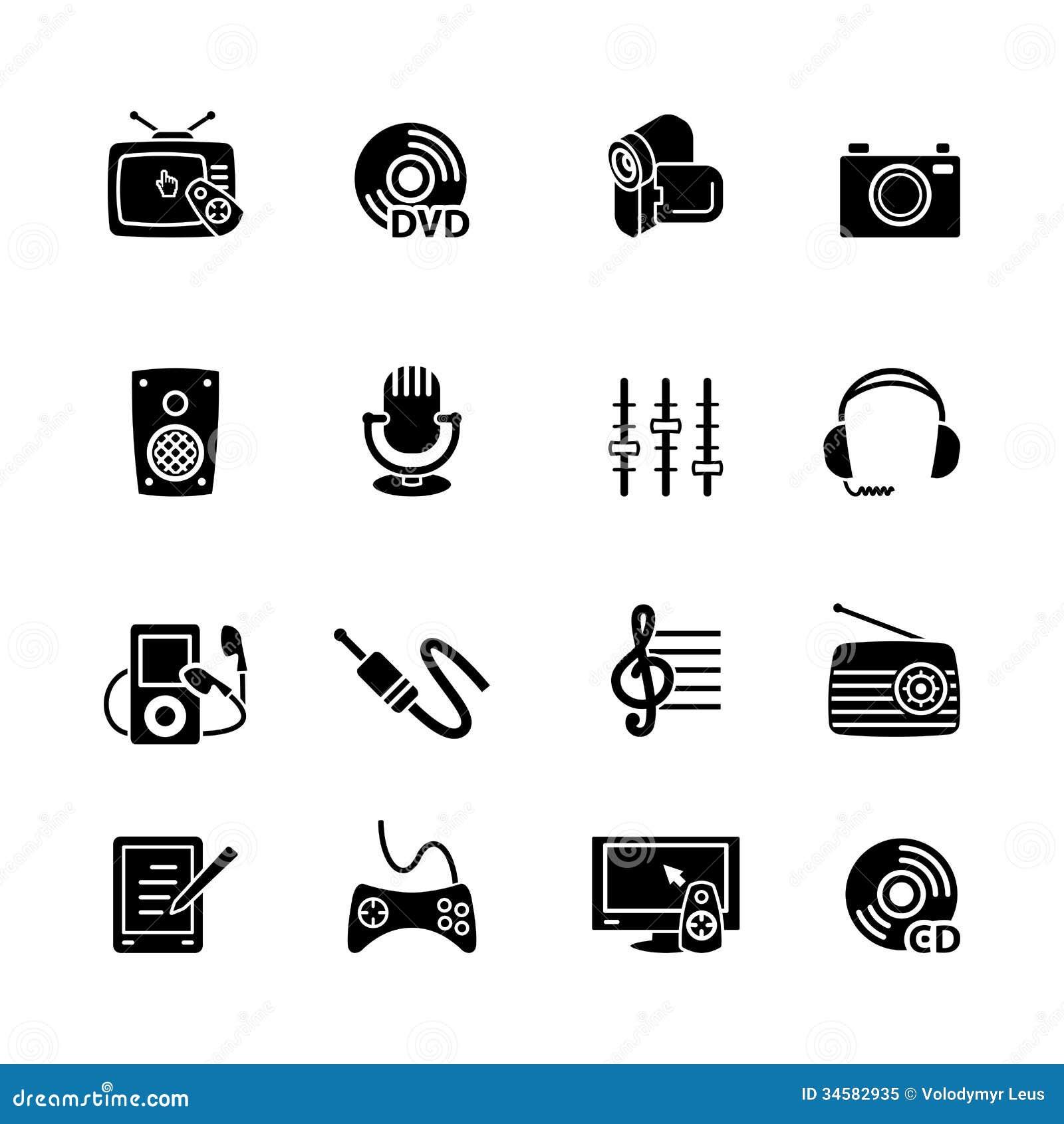 Sistema del icono del ordenador de las multimedias