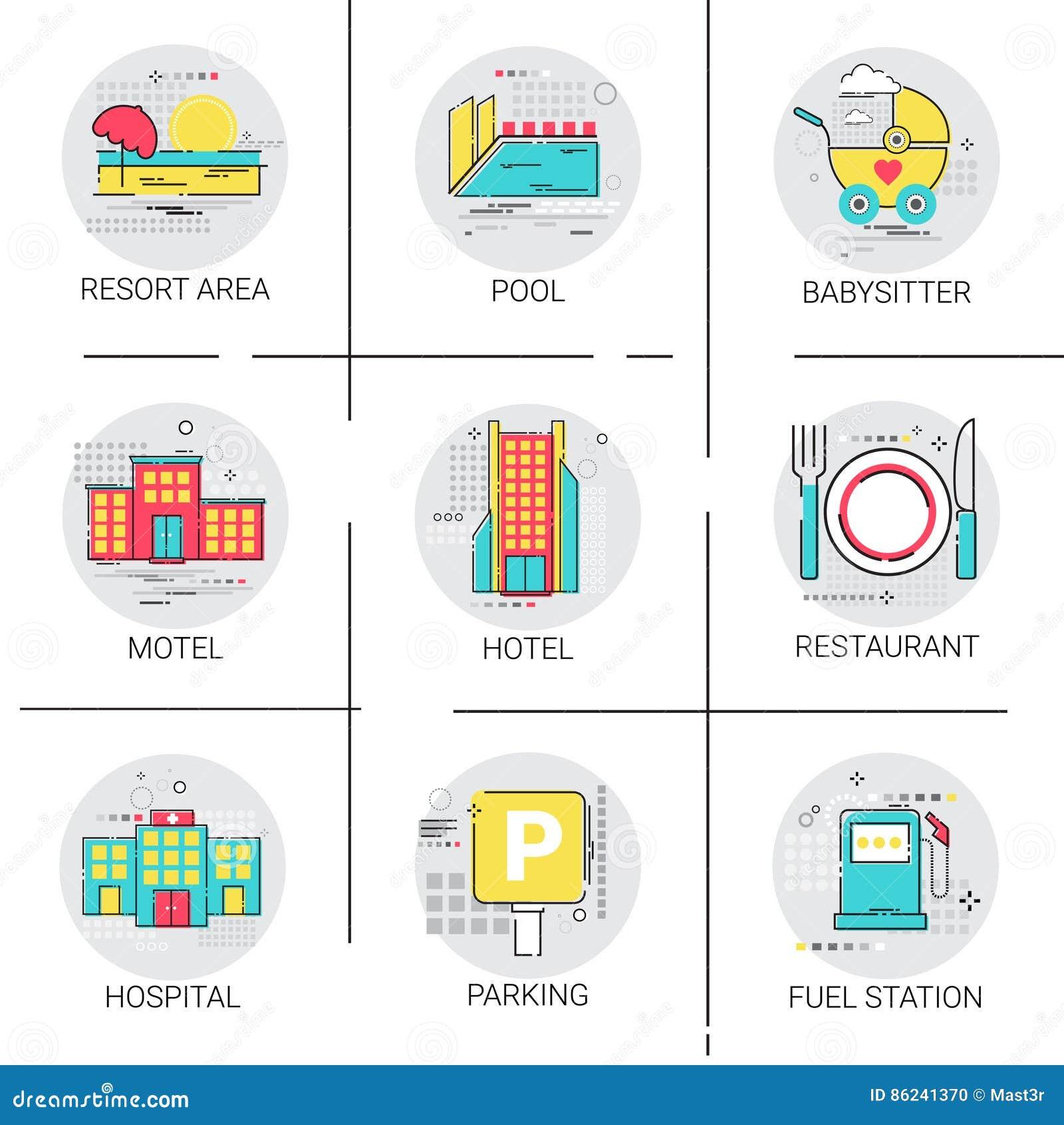 Sistema del icono del servicio de la piscina del hospital del centro turístico del restaurante del edificio del hotel