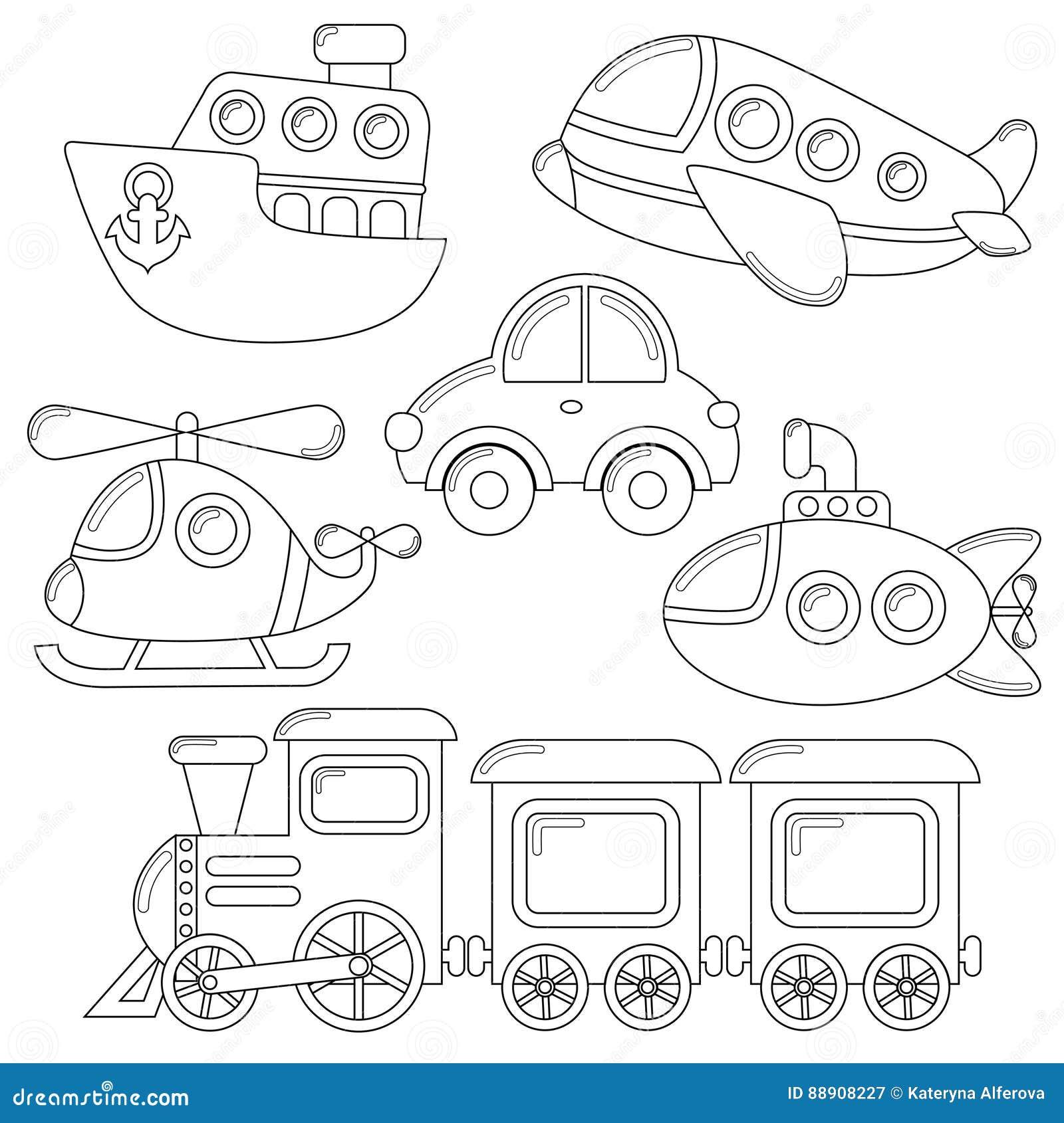 sistema del icono del transporte de la historieta coche