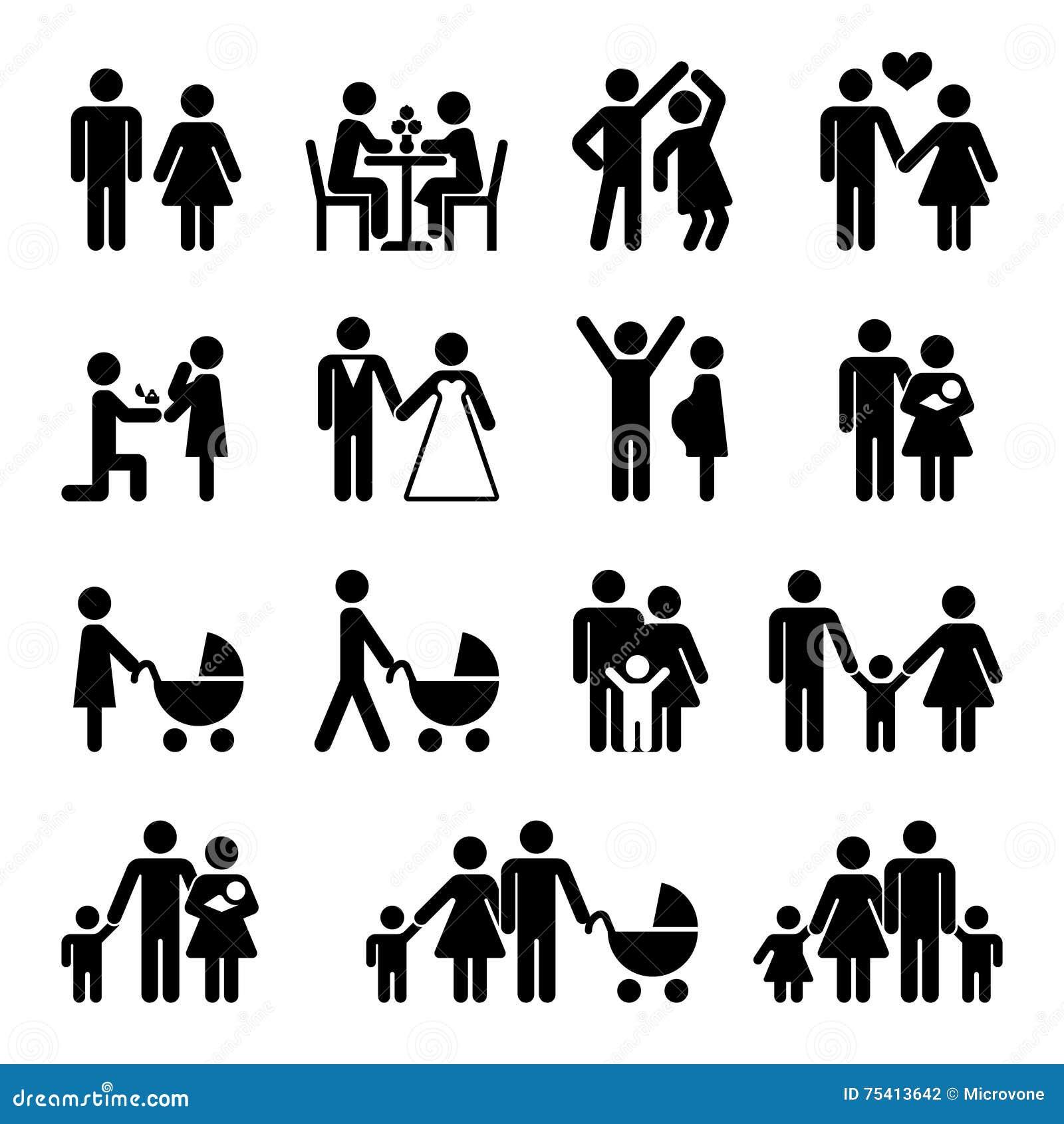 Sistema del icono del vector de la familia de la gente Amor y vida
