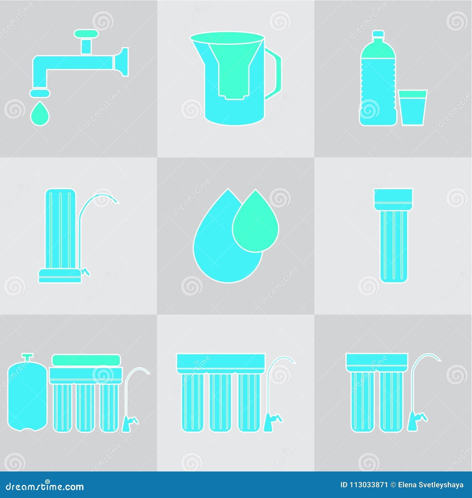 Sistema del icono del filtro de agua Bebida y filtros caseros de la purificación del agua Diversos sistemas de la filtración del