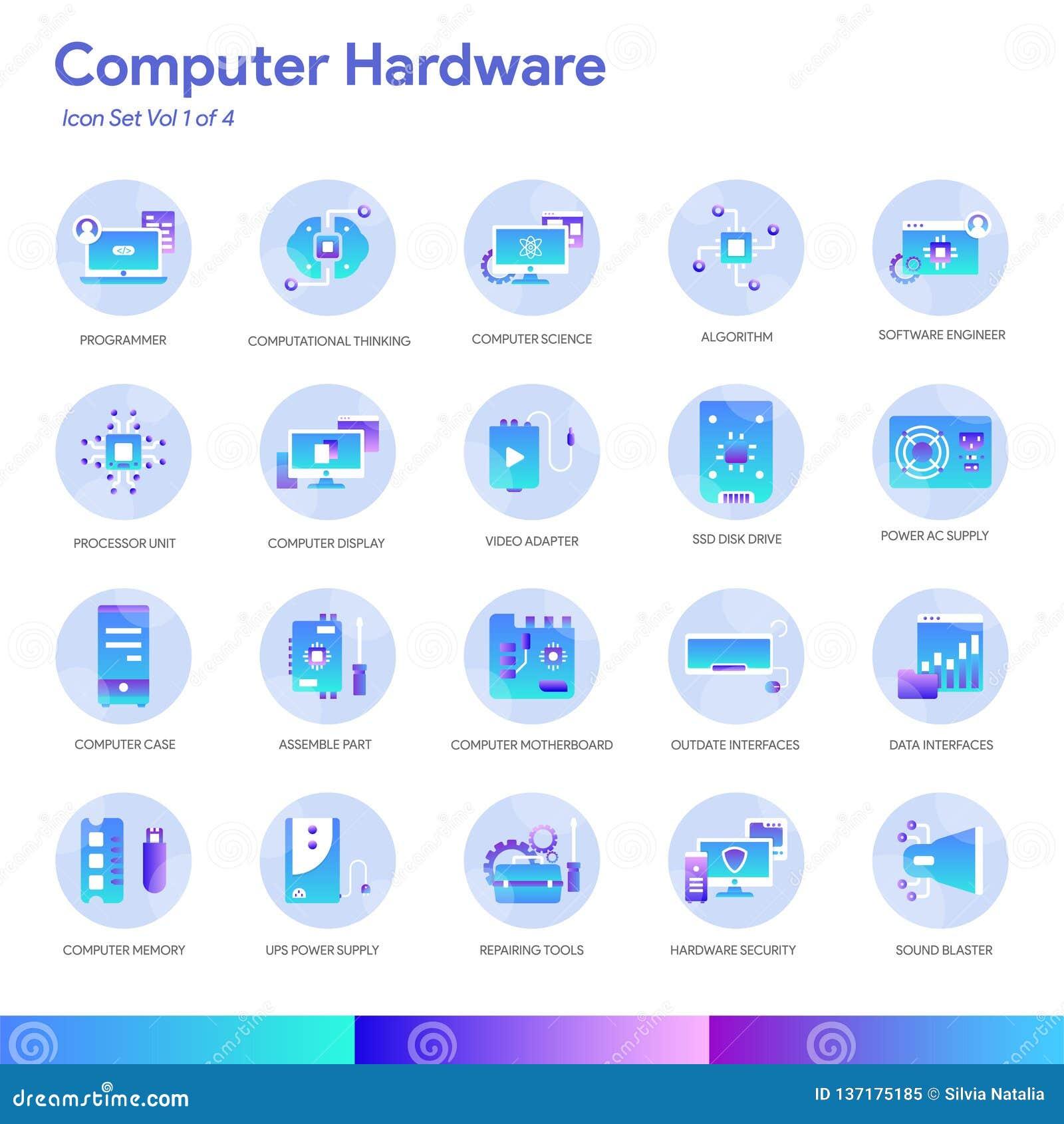 Sistema del icono del hardware Estilo moderno de la pendiente Vector EPS 10