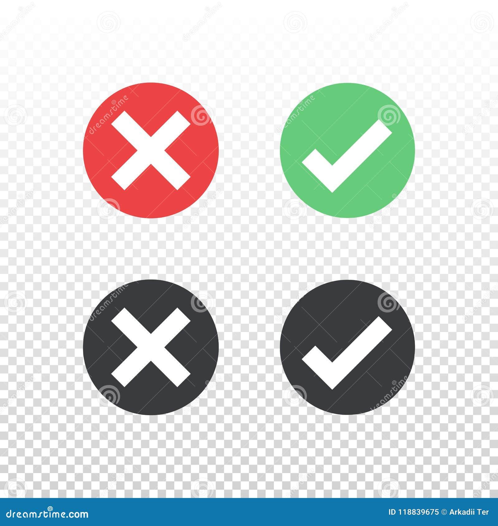 Sistema del icono negro verde rojo de la marca de verificación del icono del círculo en fondo transparente Apruebe y cancele el s