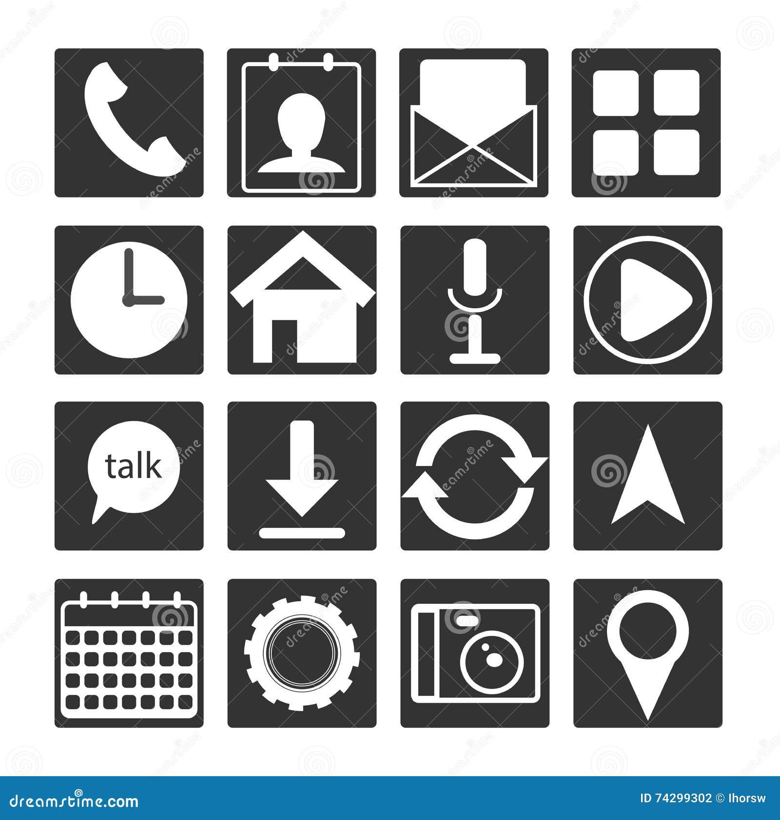 Sistema del icono plano blanco negro del app del móvil 16 Muestra del botón del esquema
