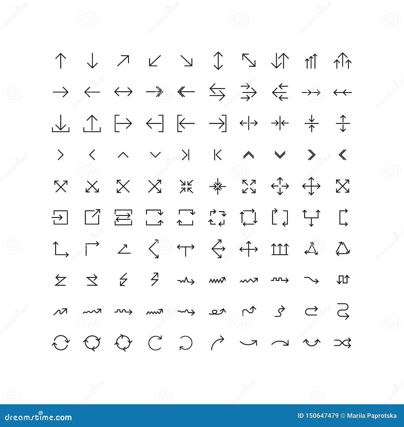 Sistema del icono del vector de las flechas en línea fina