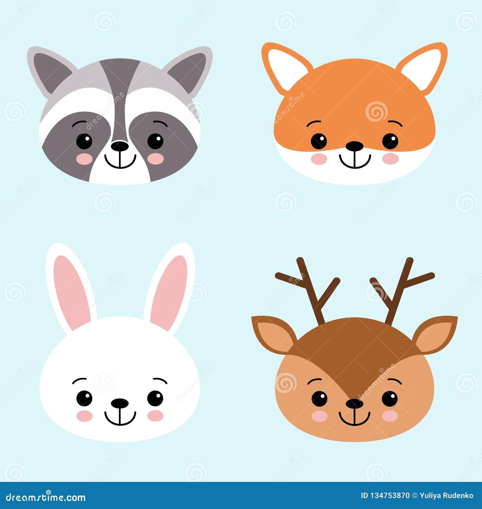 Sistema del icono del vector de los animales lindos liebres o conejo blanco, mapache, ciervos y zorro del bosque