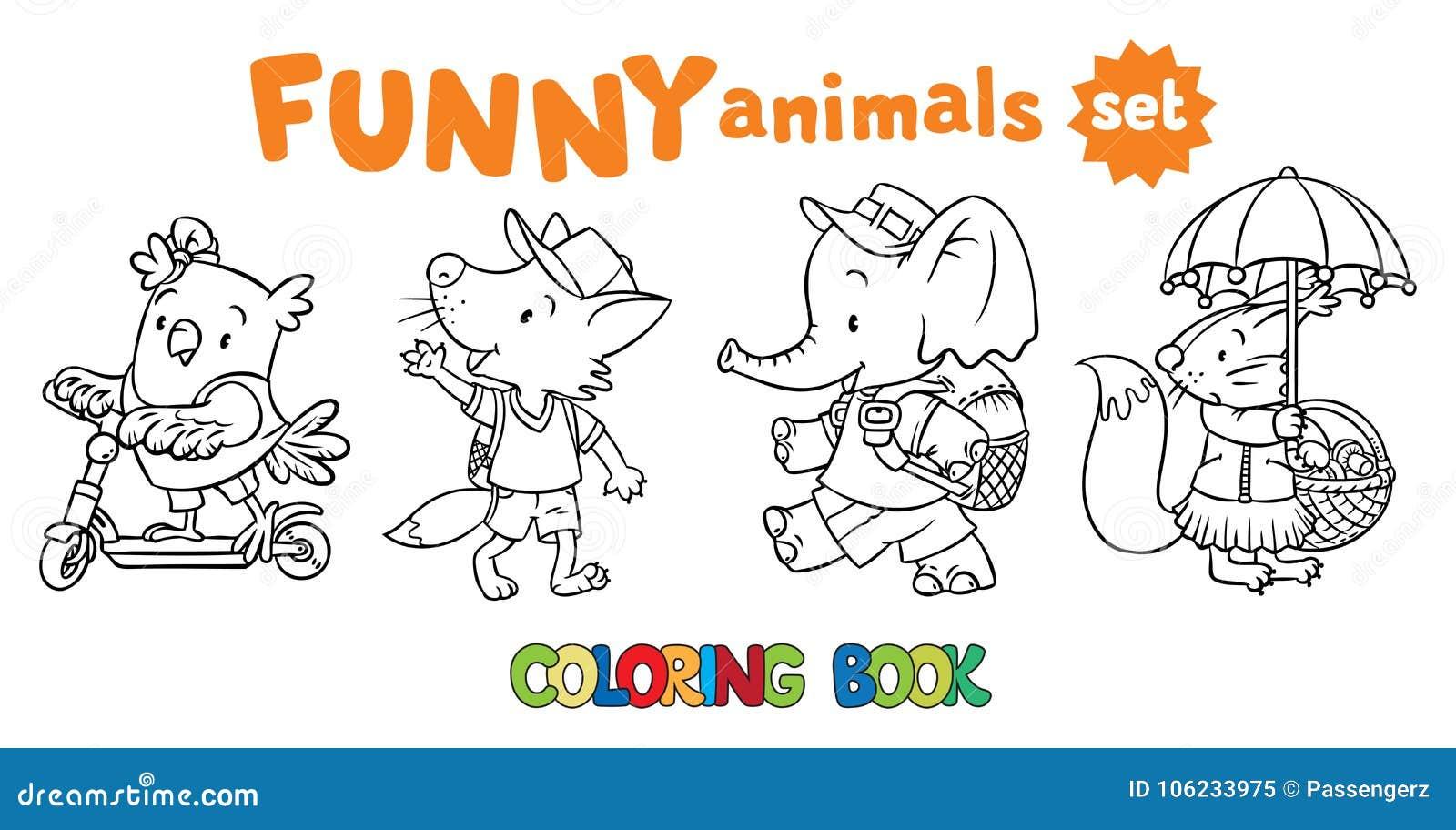 Sistema Del Libro De Colorear De Animales Divertidos Del Bebé ...
