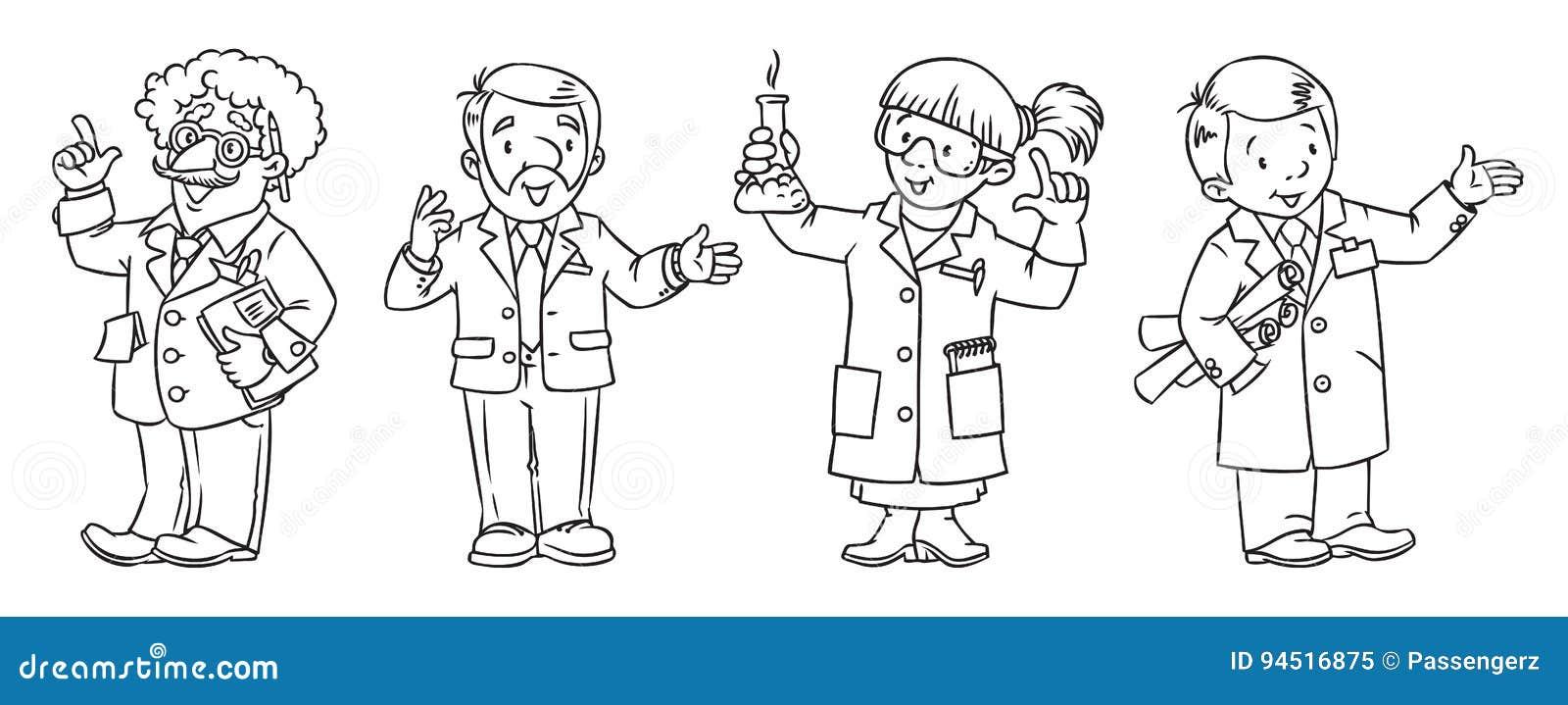 Sistema Del Libro De Colorear De Las Profesiones De La Ciencia ...