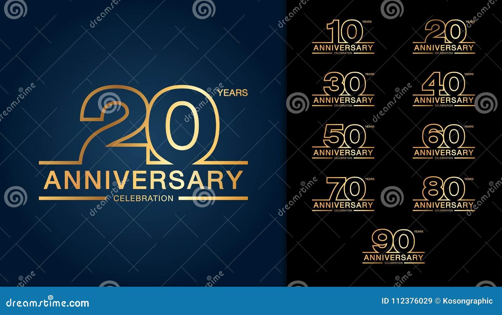 Sistema del logotipo del aniversario Embl de oro de la celebración del aniversario