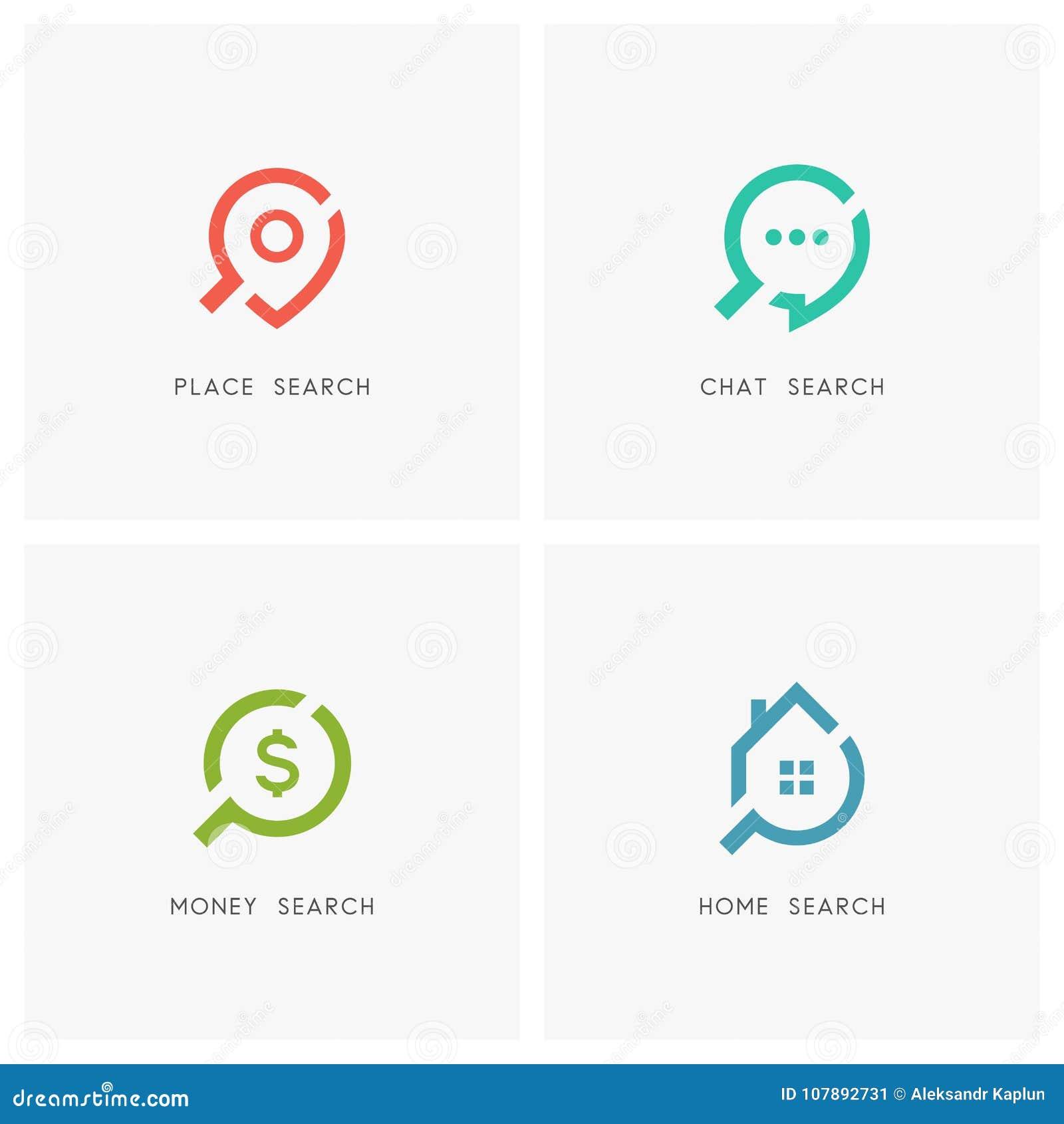Sistema del logotipo de la búsqueda