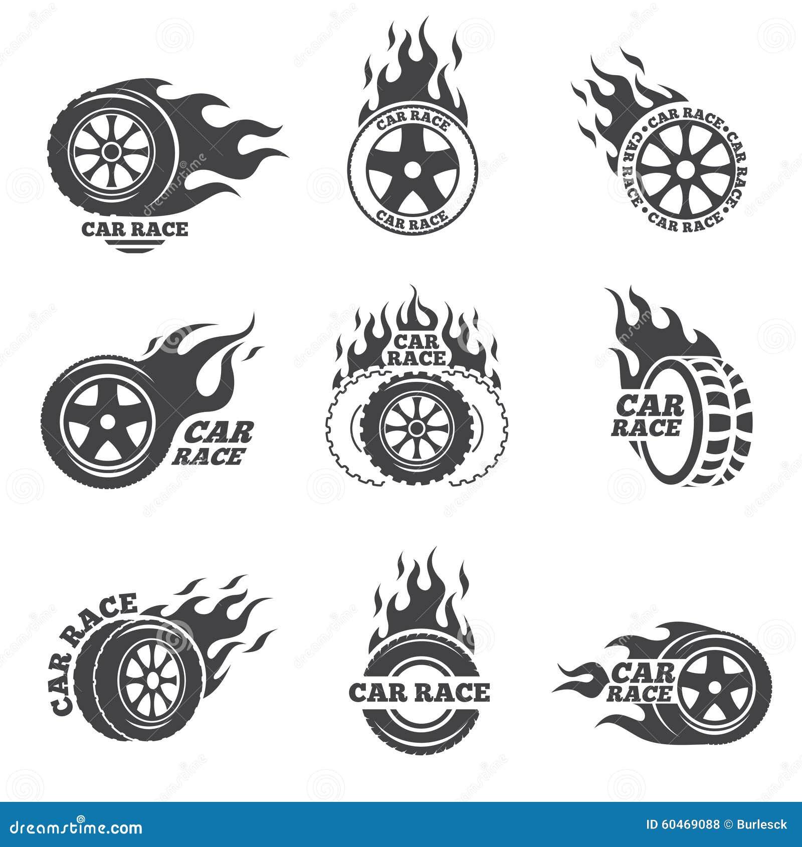 sistema del logotipo de la carrera de coches rueda con la
