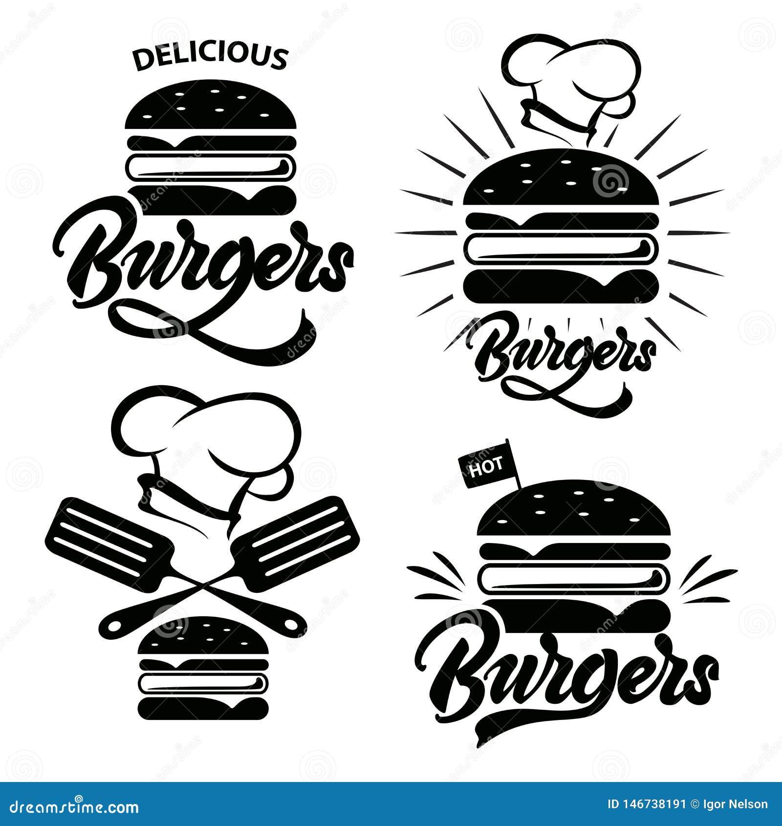 Sistema del logotipo de la hamburguesa con las letras Emblema, icono, etiqueta para el restaurante o diseño del café Hamburguesa