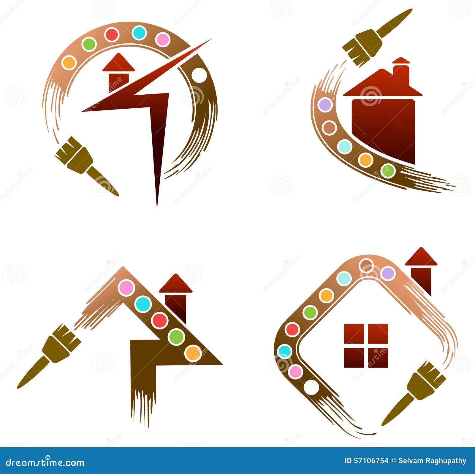 Sistema del logotipo de la pintura de casa