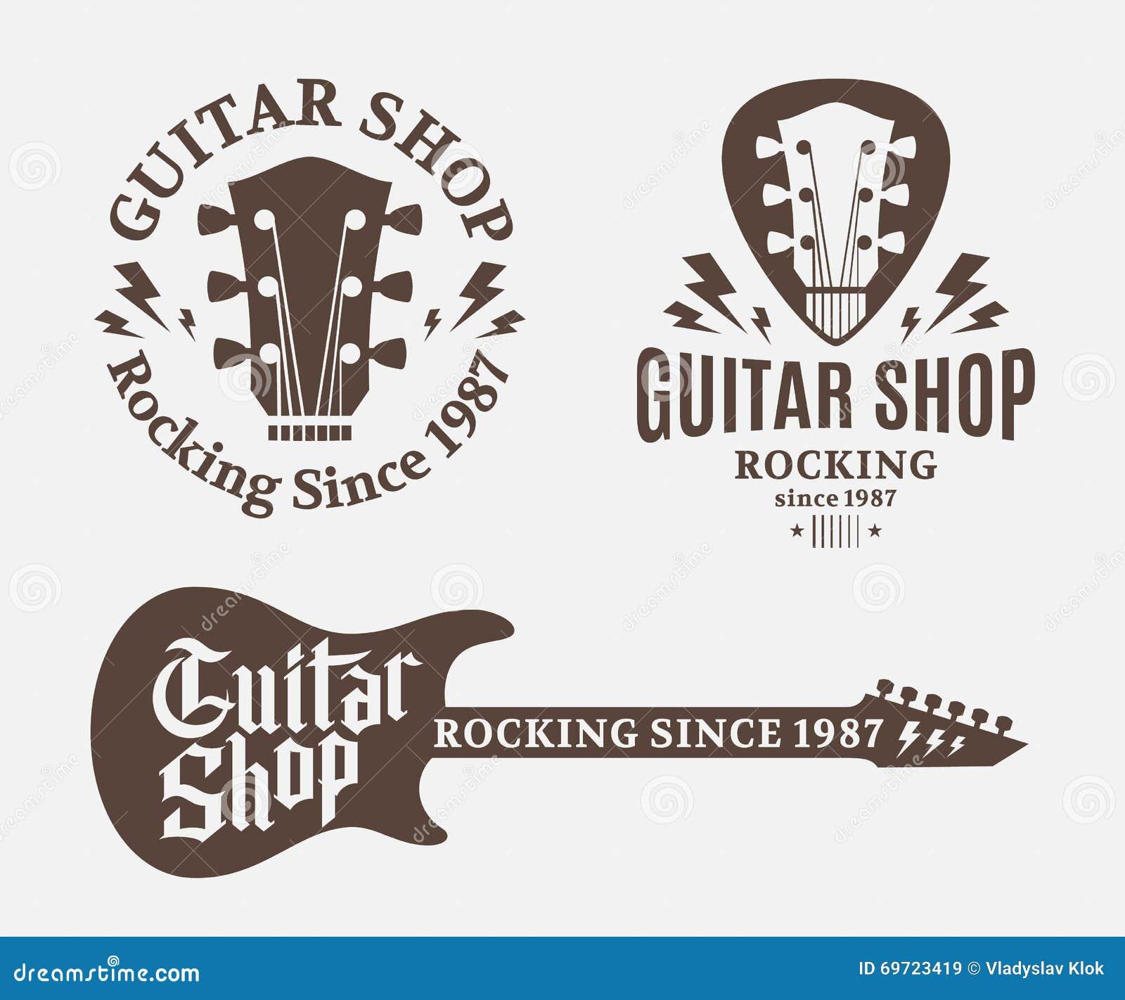 Sistema del logotipo de la tienda de la guitarra