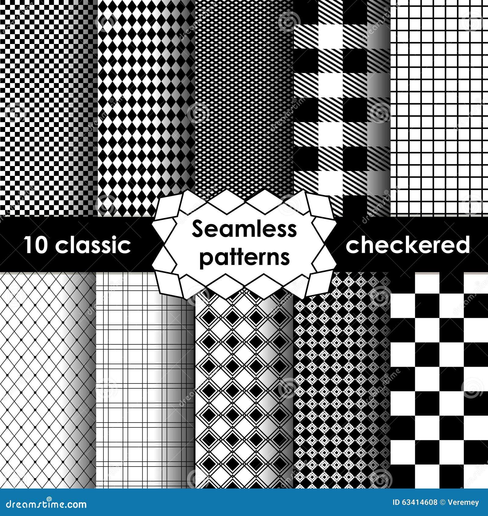 Sistema del modelo inconsútil de la tela simple a cuadros en blanco y negro