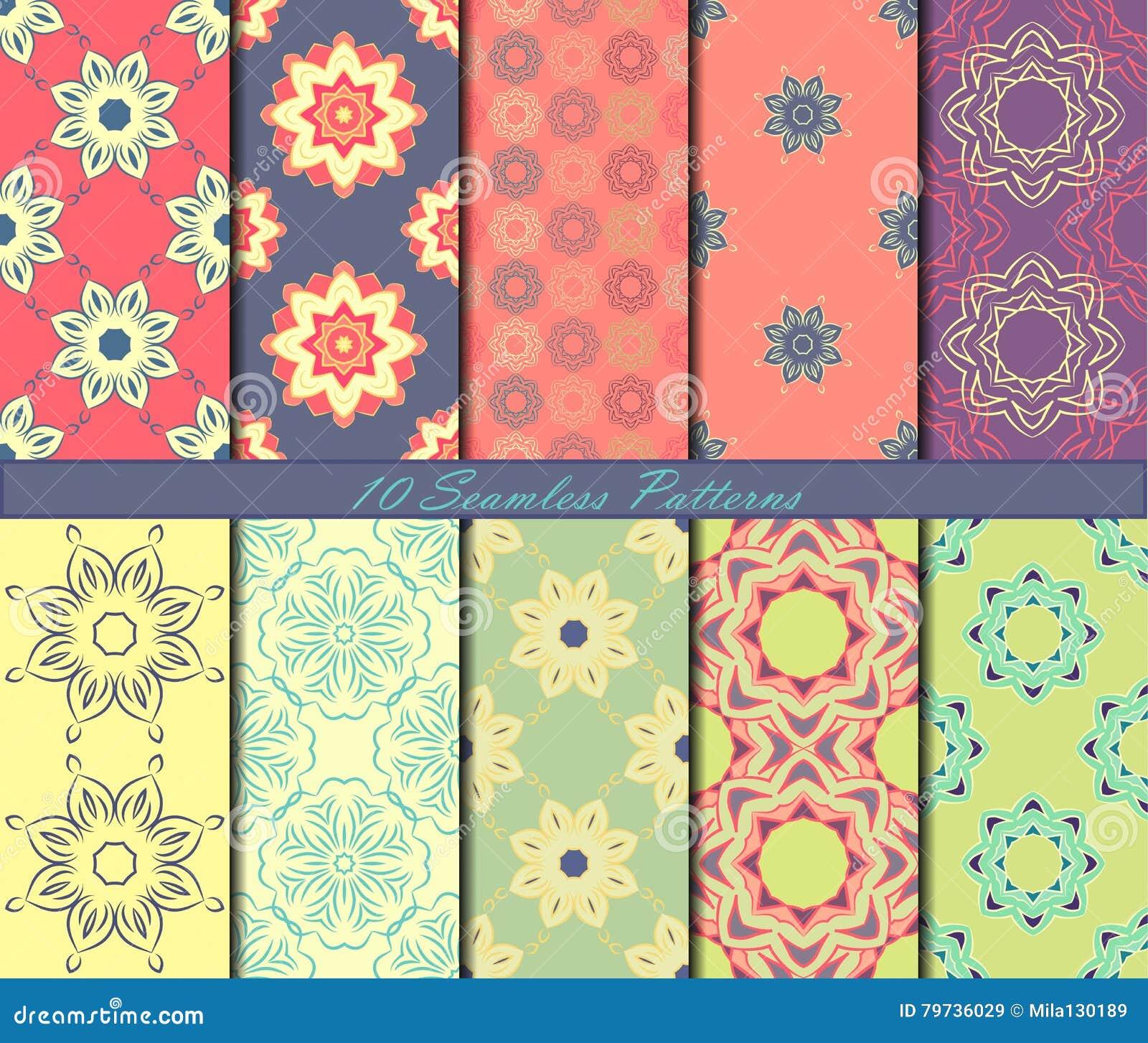 Sistema Del Modelo Inconsútil Diez Con Las Mandalas En Colores