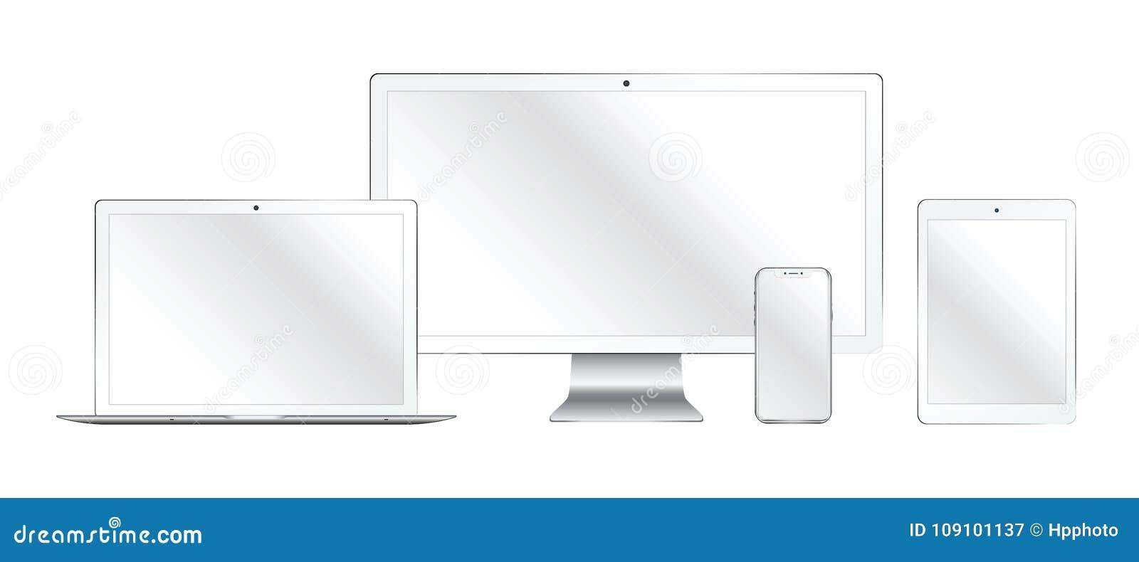 Sistema del monitor de computadora realista, ordenador portátil, tableta, teléfono móvil
