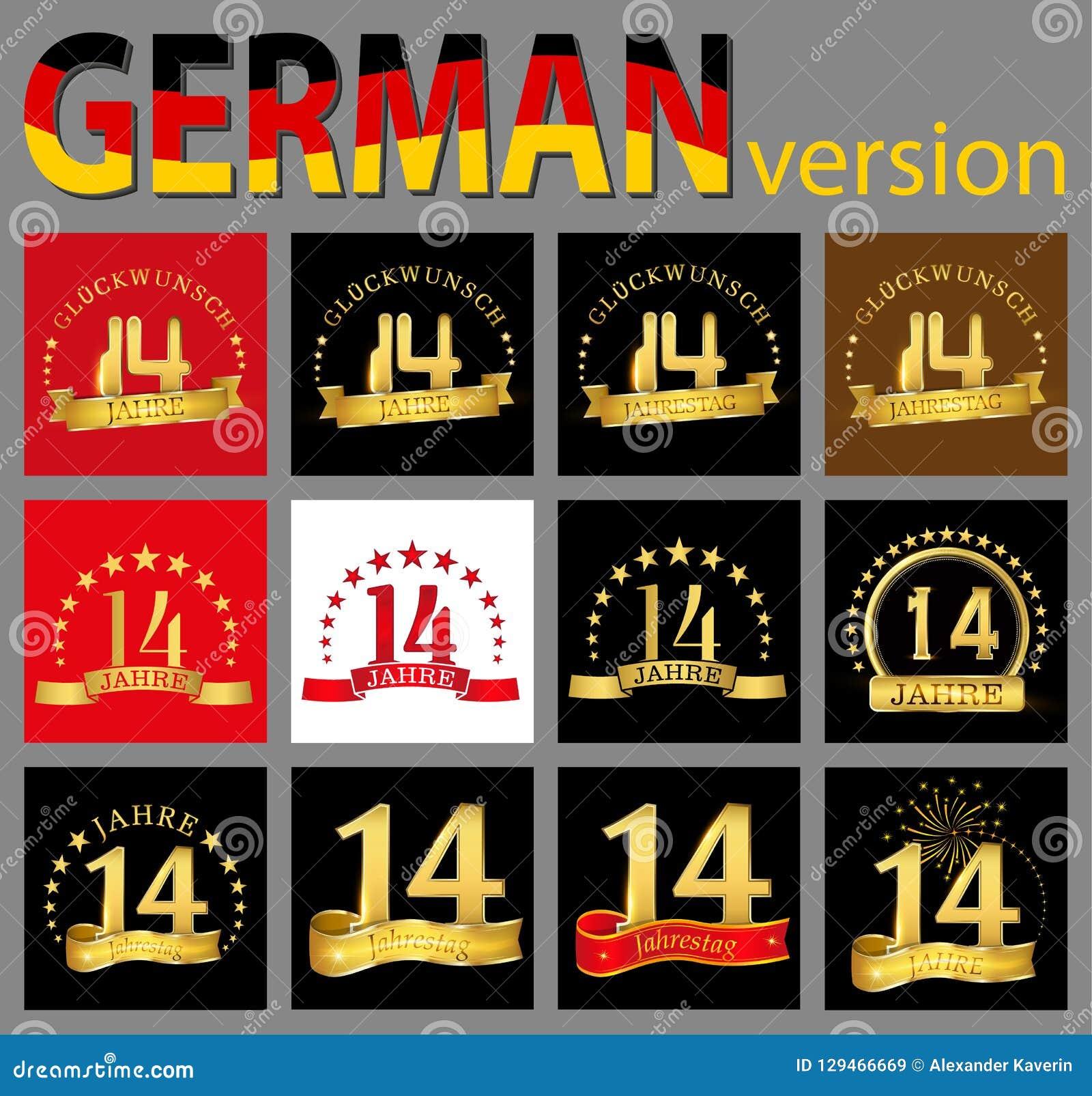 Sistema del número catorce 14 años de diseño de la celebración Elementos de oro de la plantilla del número del aniversario para s