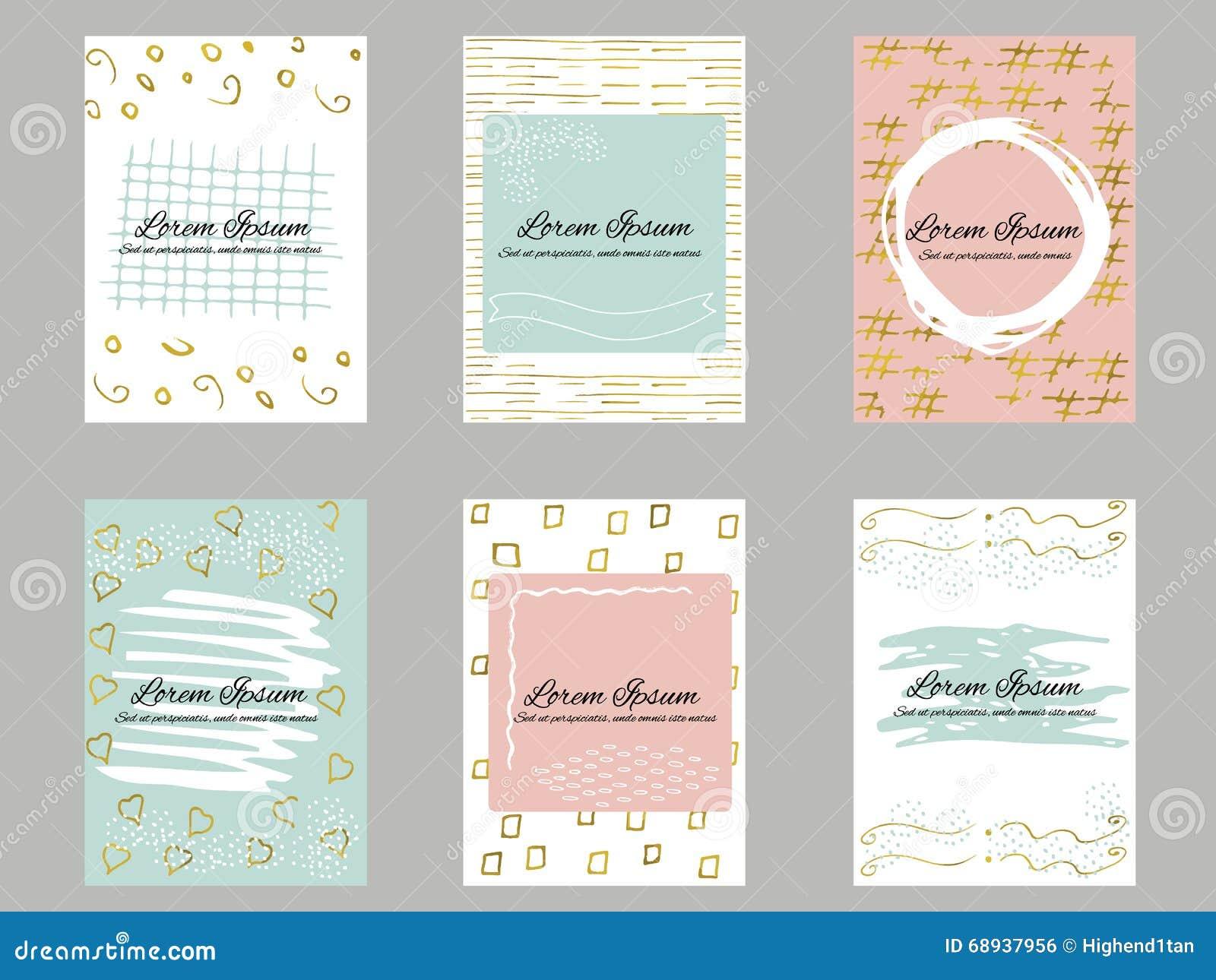 Sistema del oro 6, azul, plantilla rosada y blanca o cartes cadeaux de la tarjeta de visita