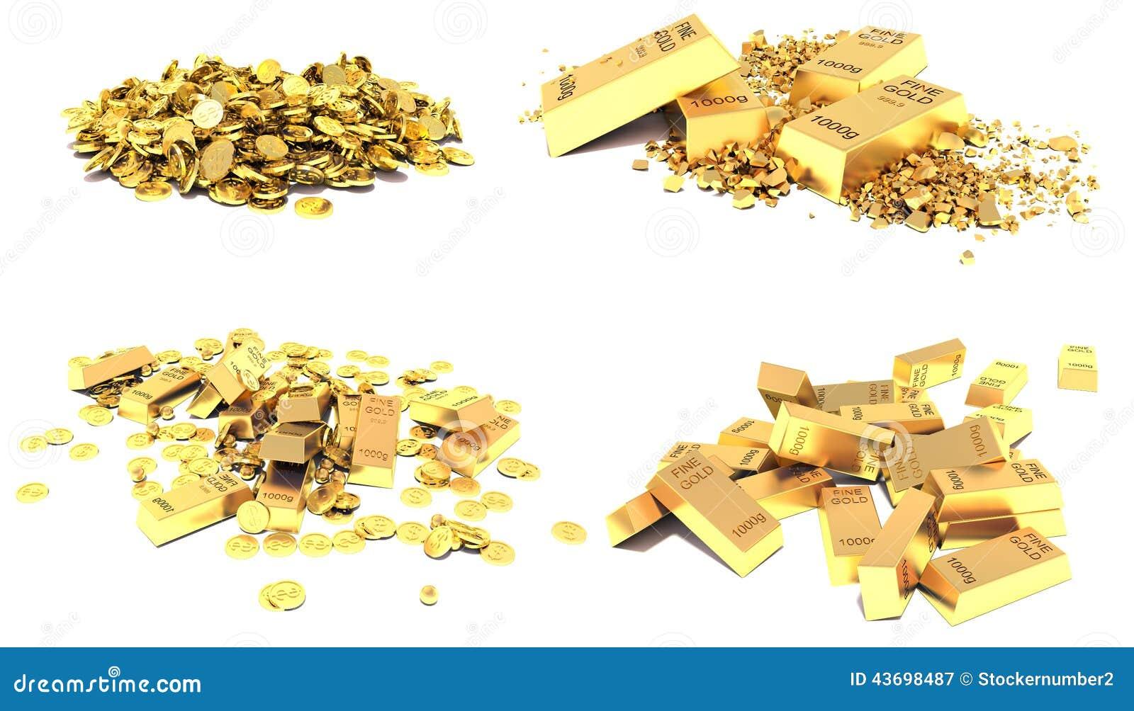 Sistema del oro Barras de oro, monedas y pedazos de oro aislados en blanco