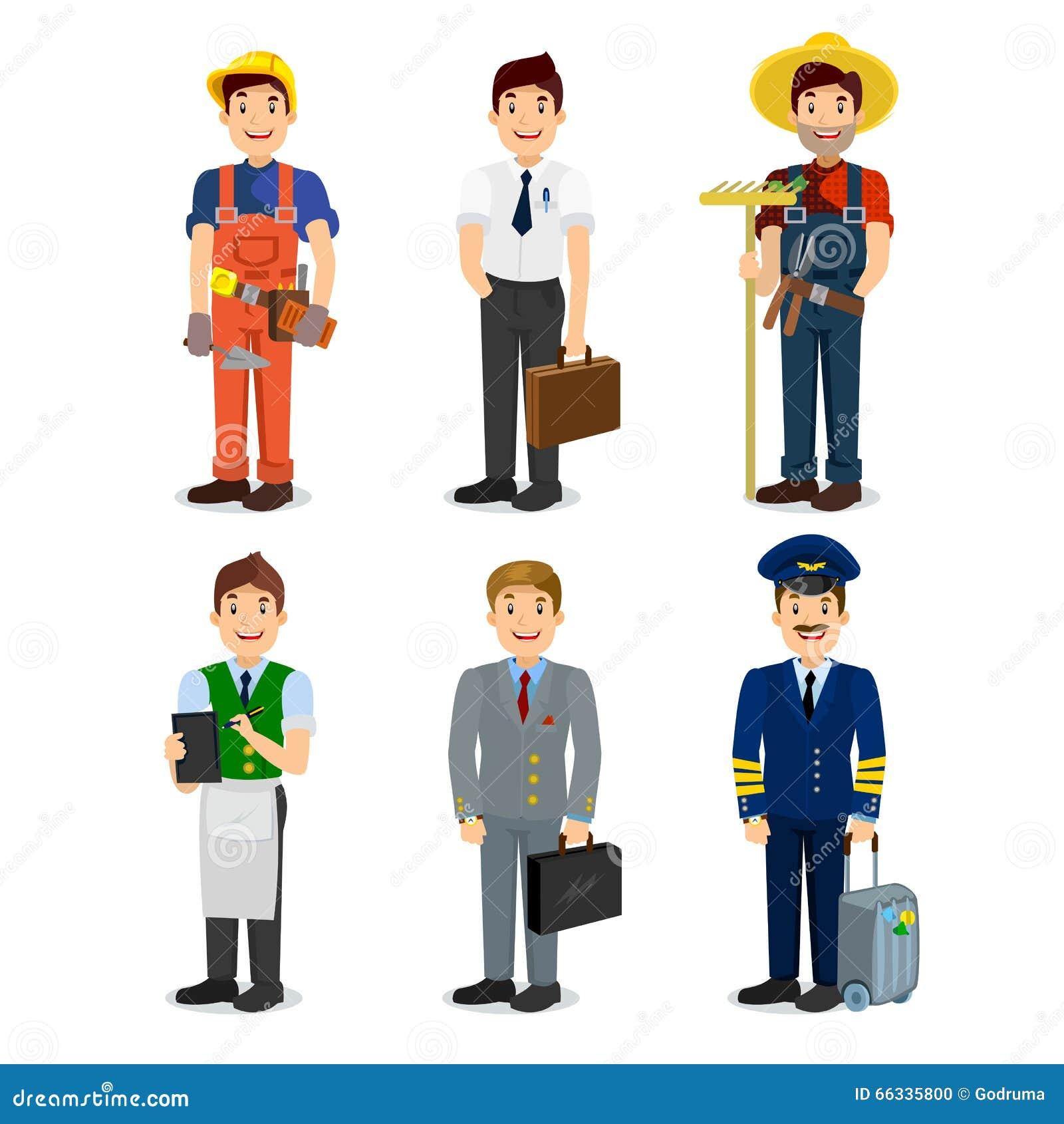 Sistema del piloto plano de los iconos del estilo del hombre colorido de la profesión, hombre de negocios, constructor, camarero,