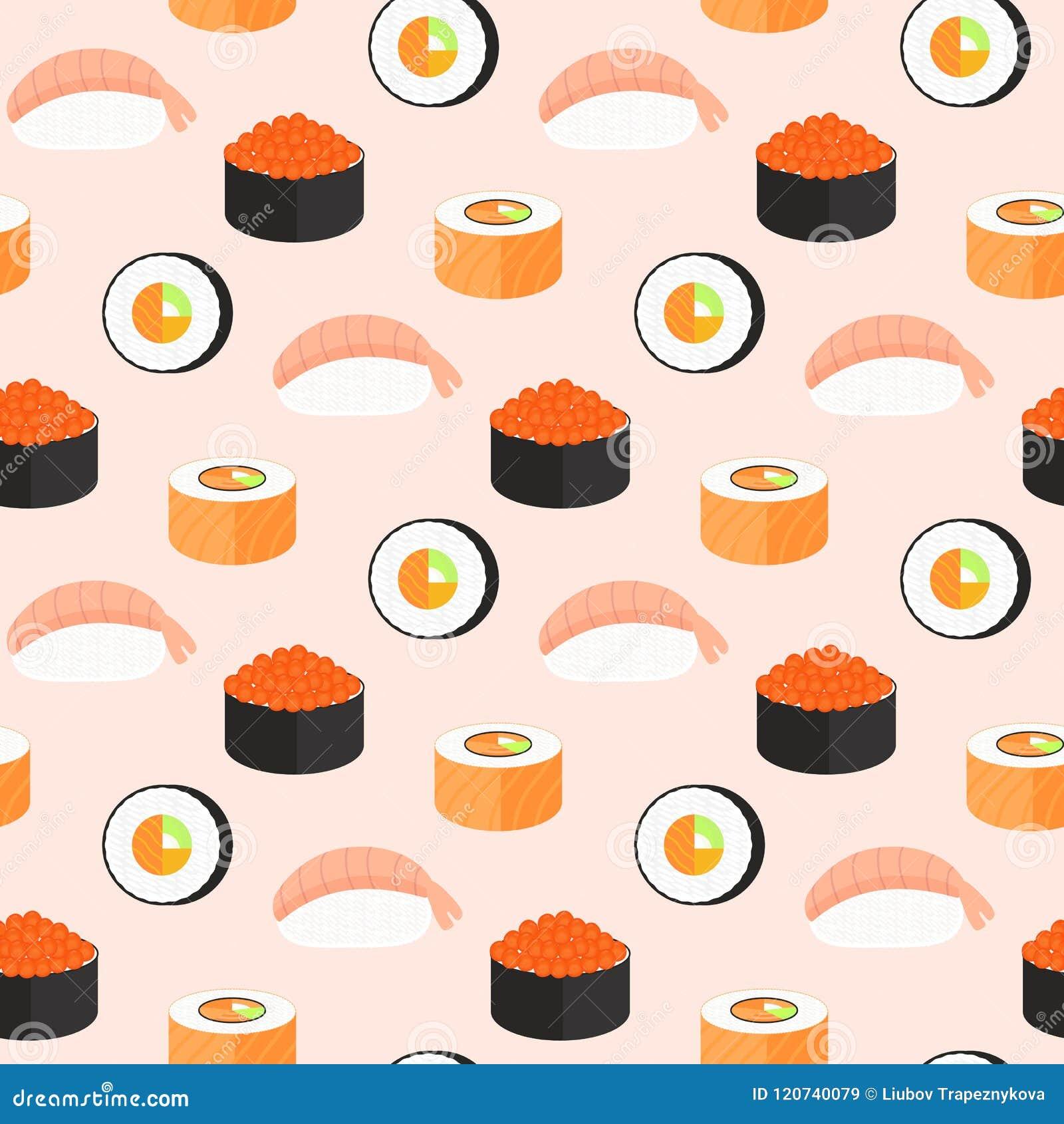 Sistema del sushi, rollos con los salmones, nigiri con el camarón, maki Modelo inconsútil de la comida japonesa tradicional