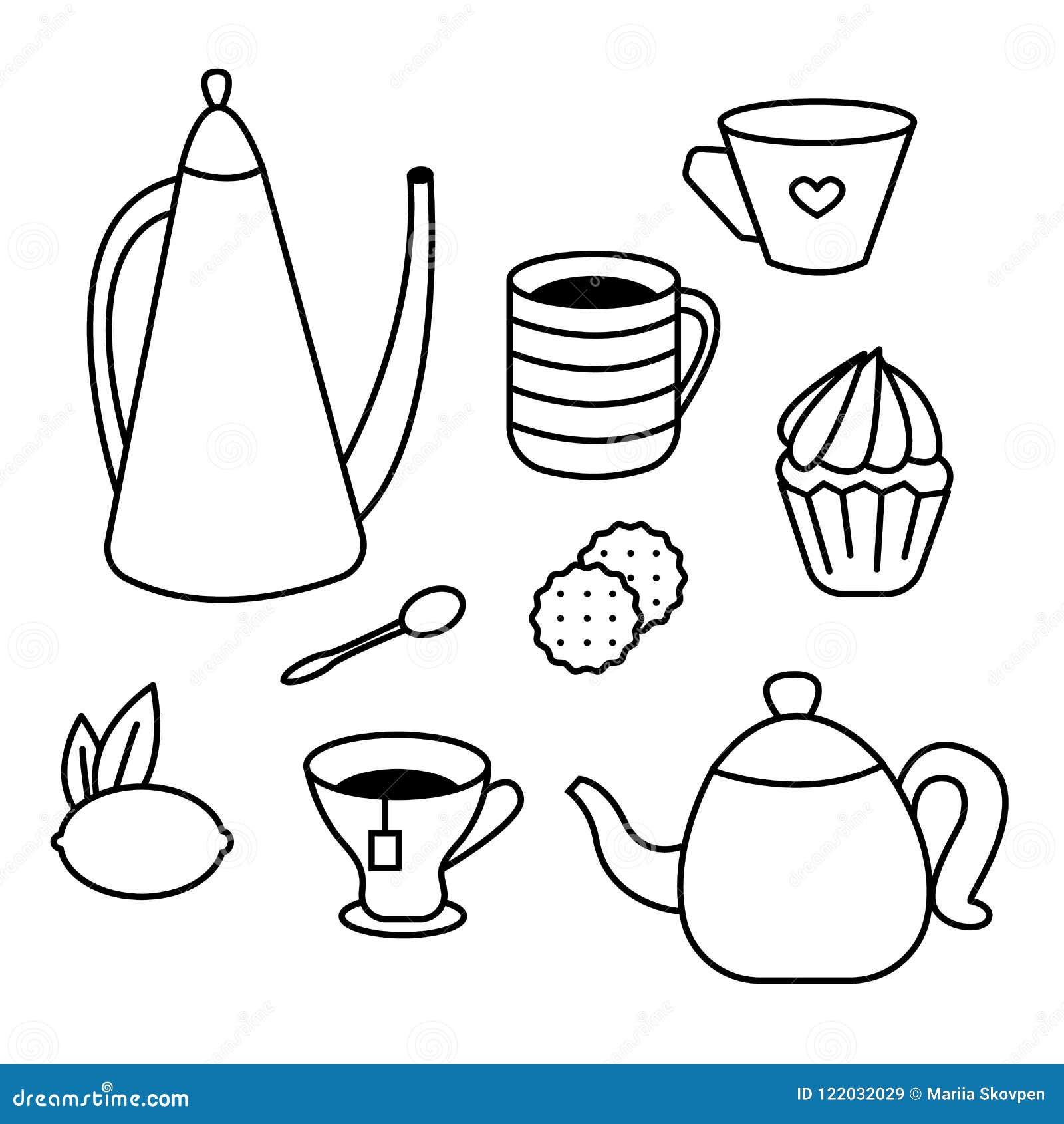 Sistema Del Tiempo Del Té De Potes Del Té De Tazas De Café