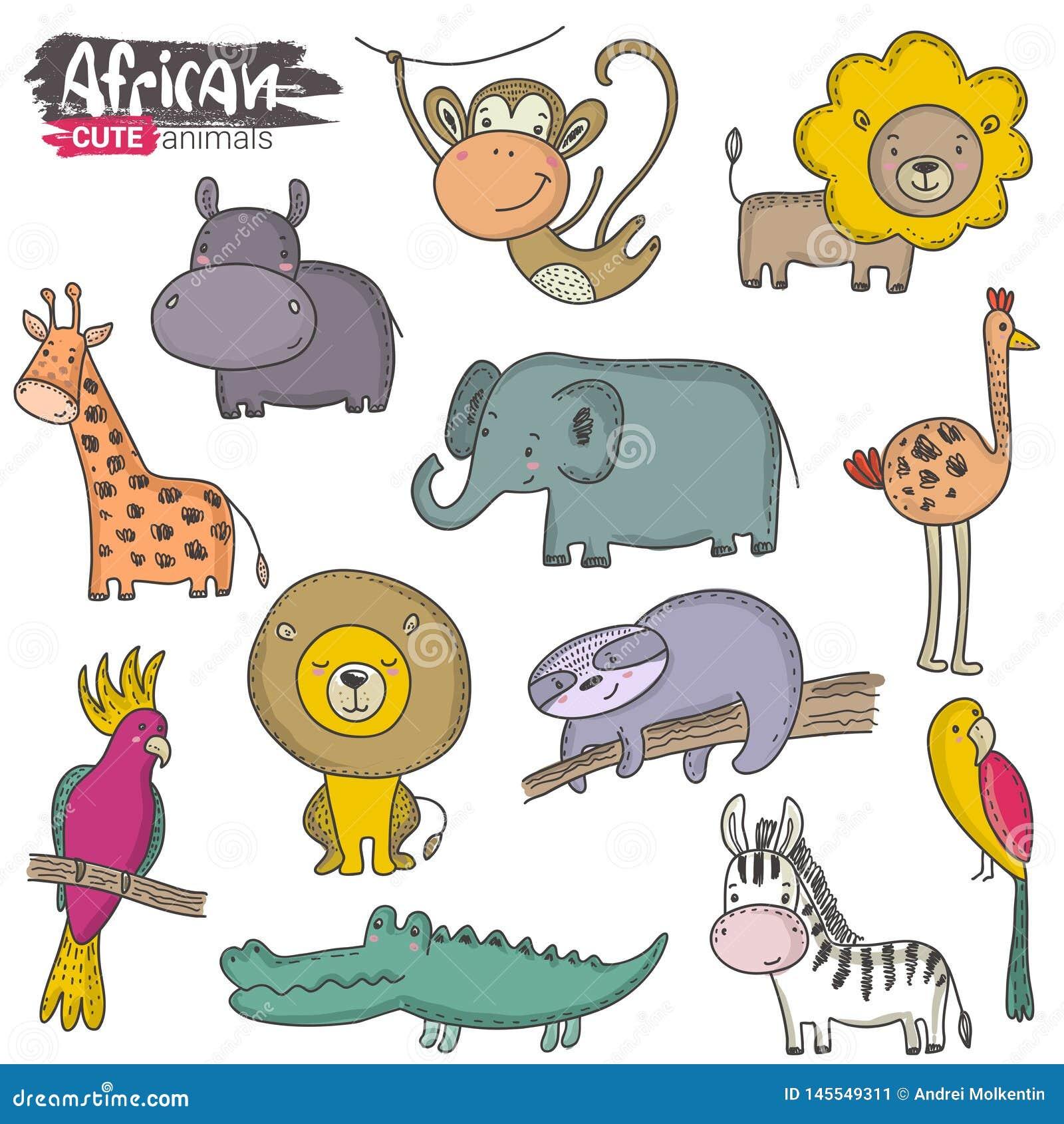 Sistema del vector de animales del africano de la historieta Colecci?n colorida de la selva