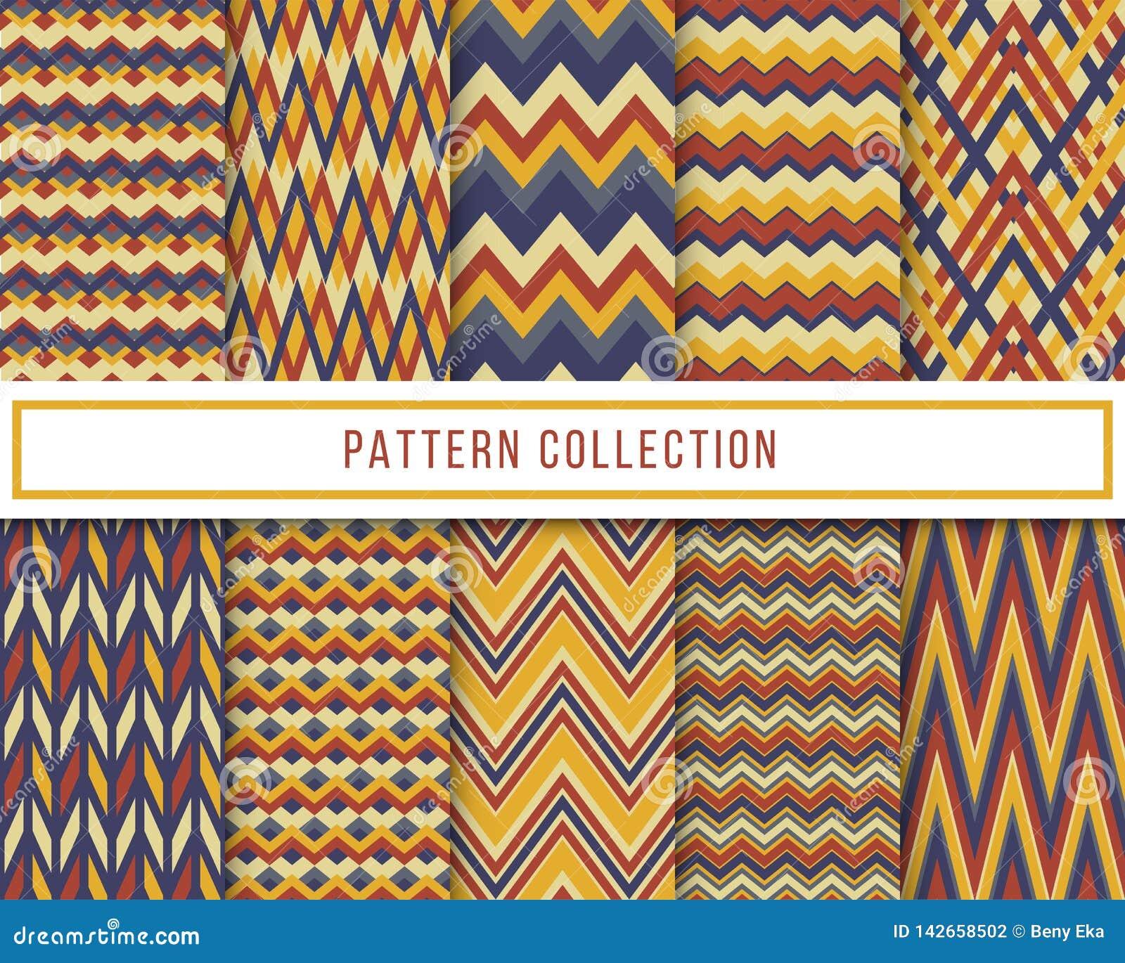 Sistema del vector de 10 azules y modelo inconsútil del vintage del zigzag retro amarillo del galón para el papel pintado, tela,