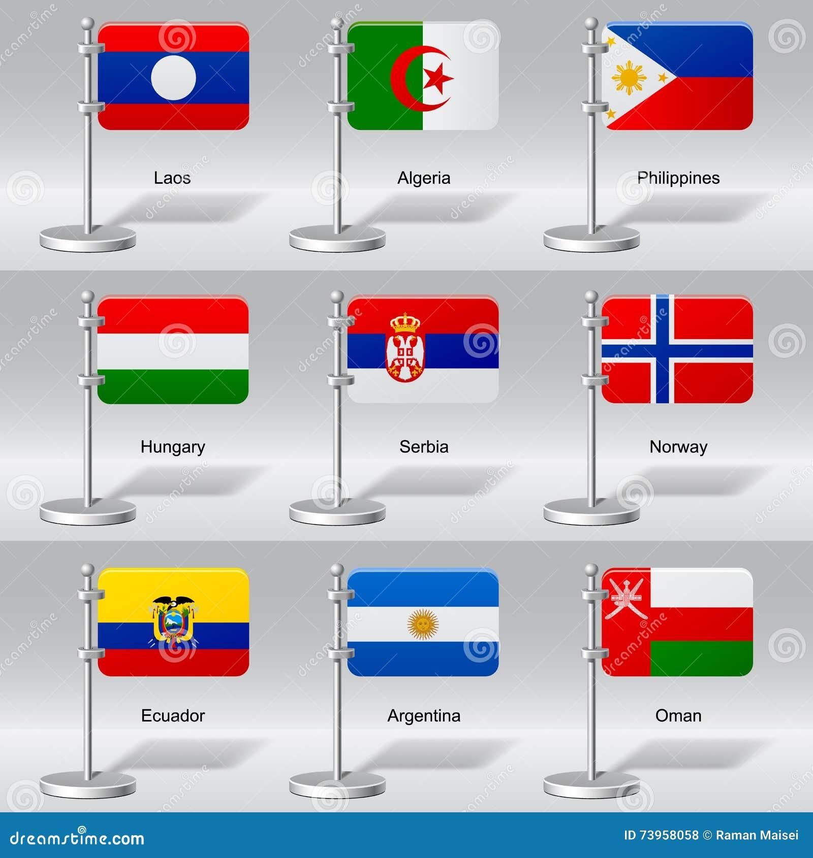 Sistema del vector de banderas de la tabla del mundo