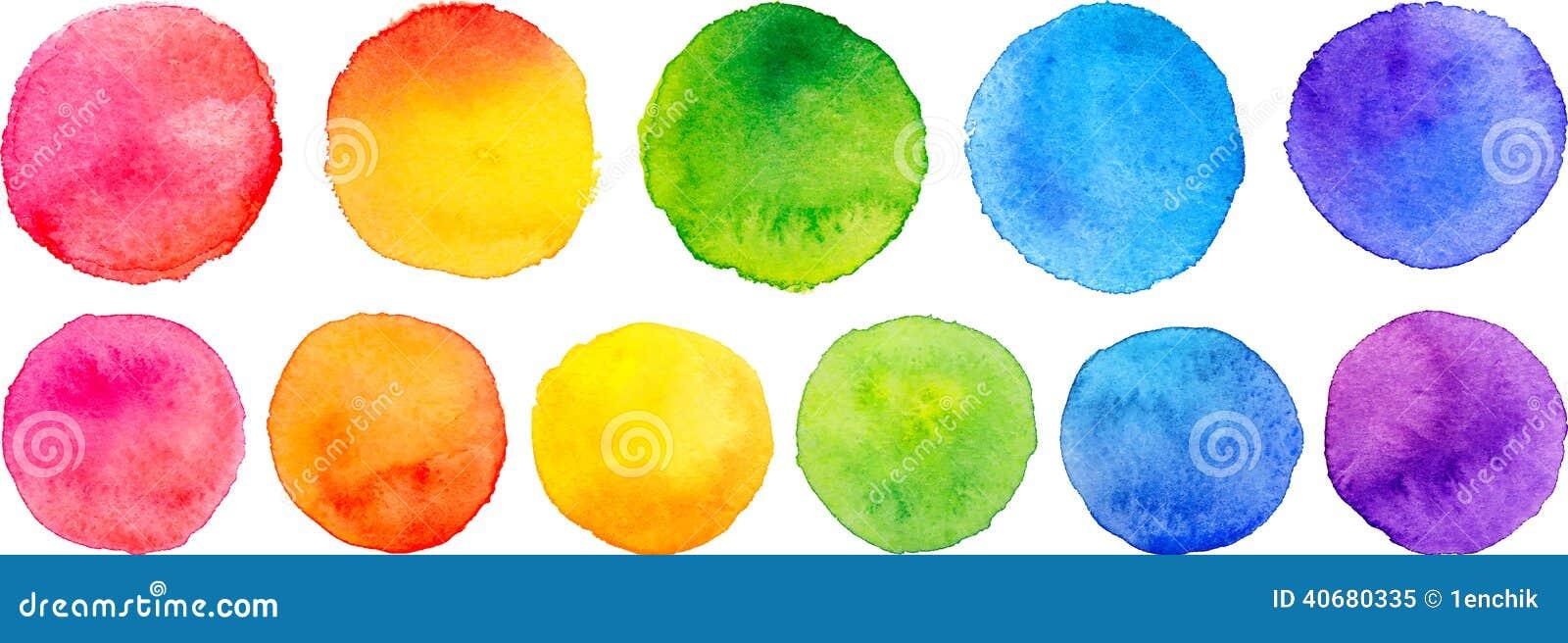 Sistema del vector de círculos de la acuarela del arco iris