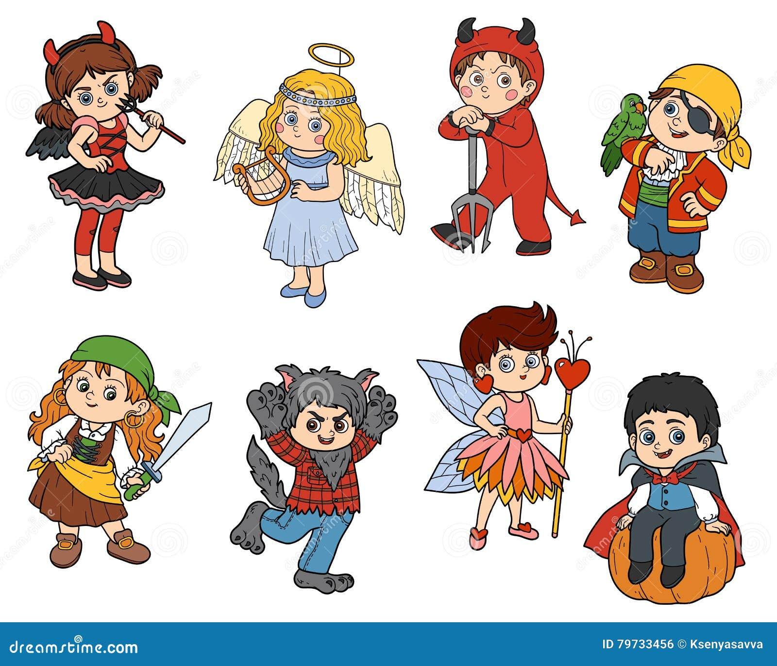 Sistema del vector de caracteres de los niños de Halloween