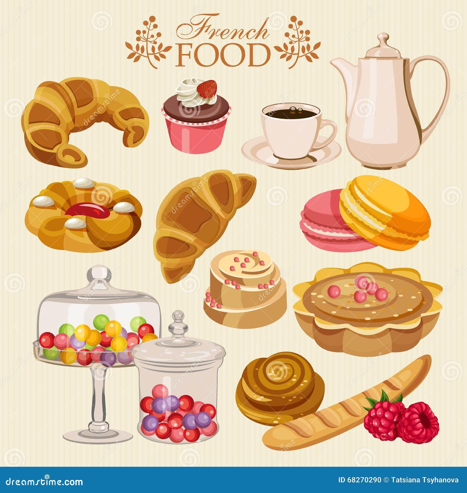 Sistema del vector de cocina francesa comida dulce for Comida nacional de francia