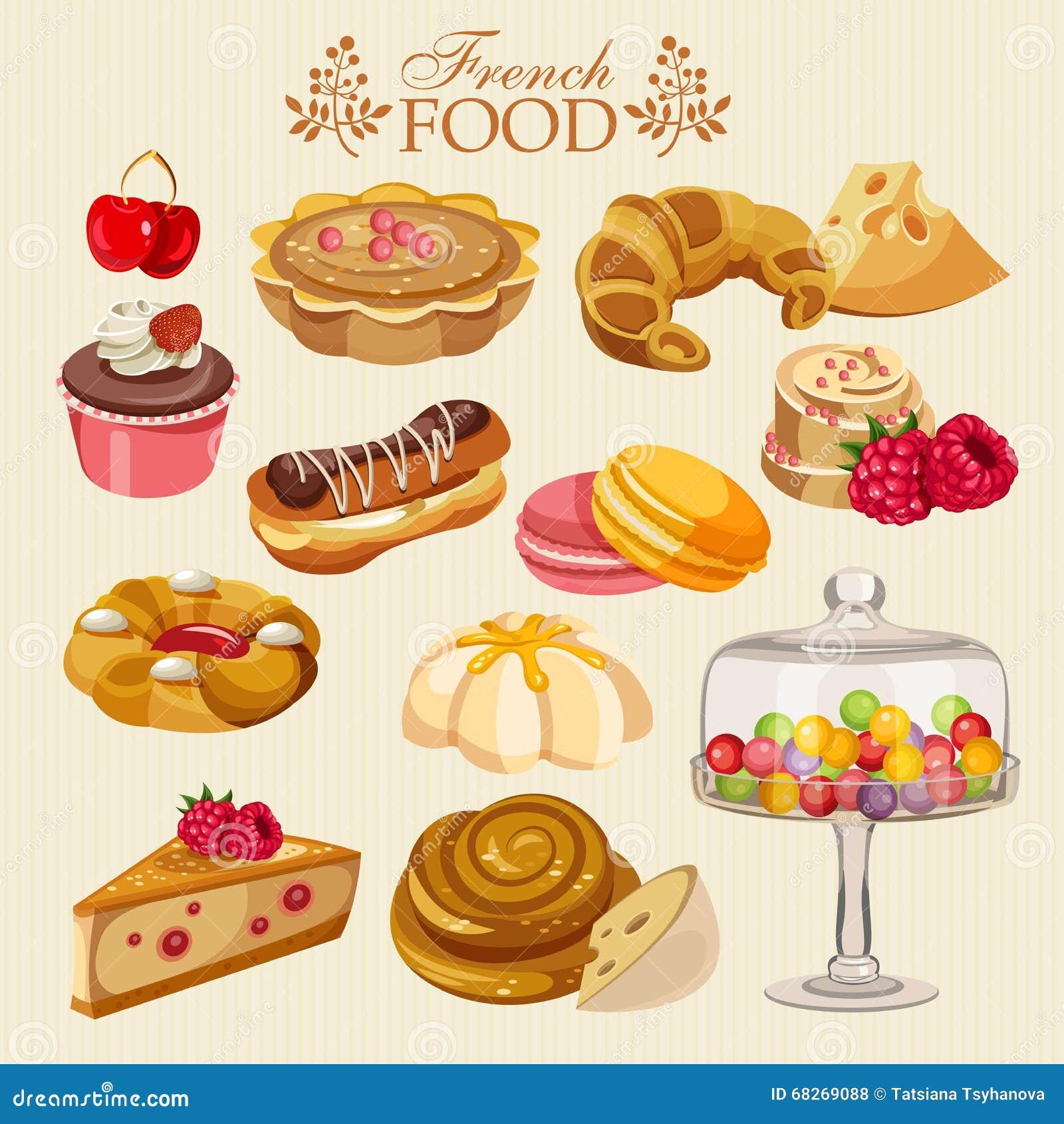 Sistema del vector de cocina francesa comida nacional de for La nueva cocina francesa