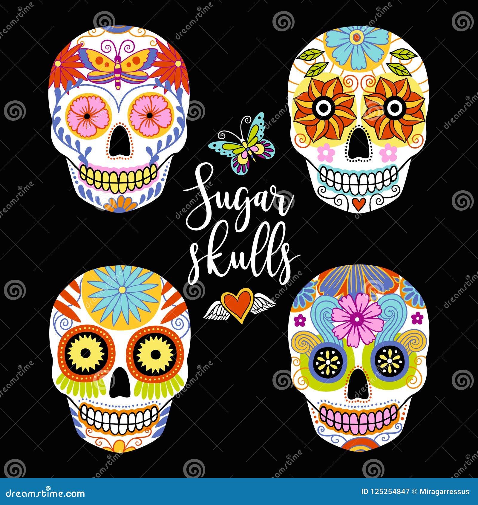 Sistema del vector de cráneos coloridos dibujados mano del azúcar