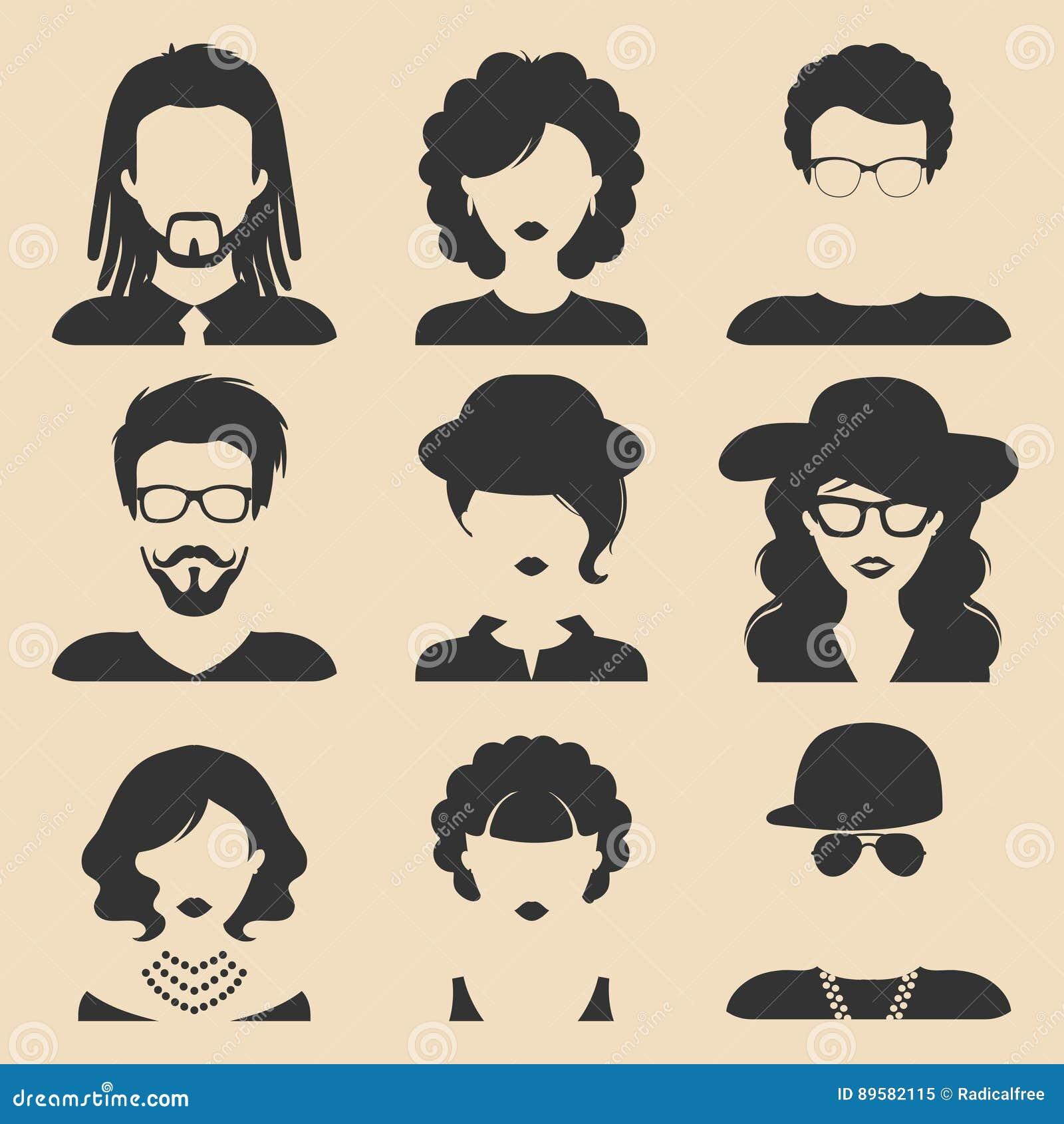 Sistema del vector de diversos iconos masculinos y femeninos en estilo plano de moda Caras o cabezas de la gente