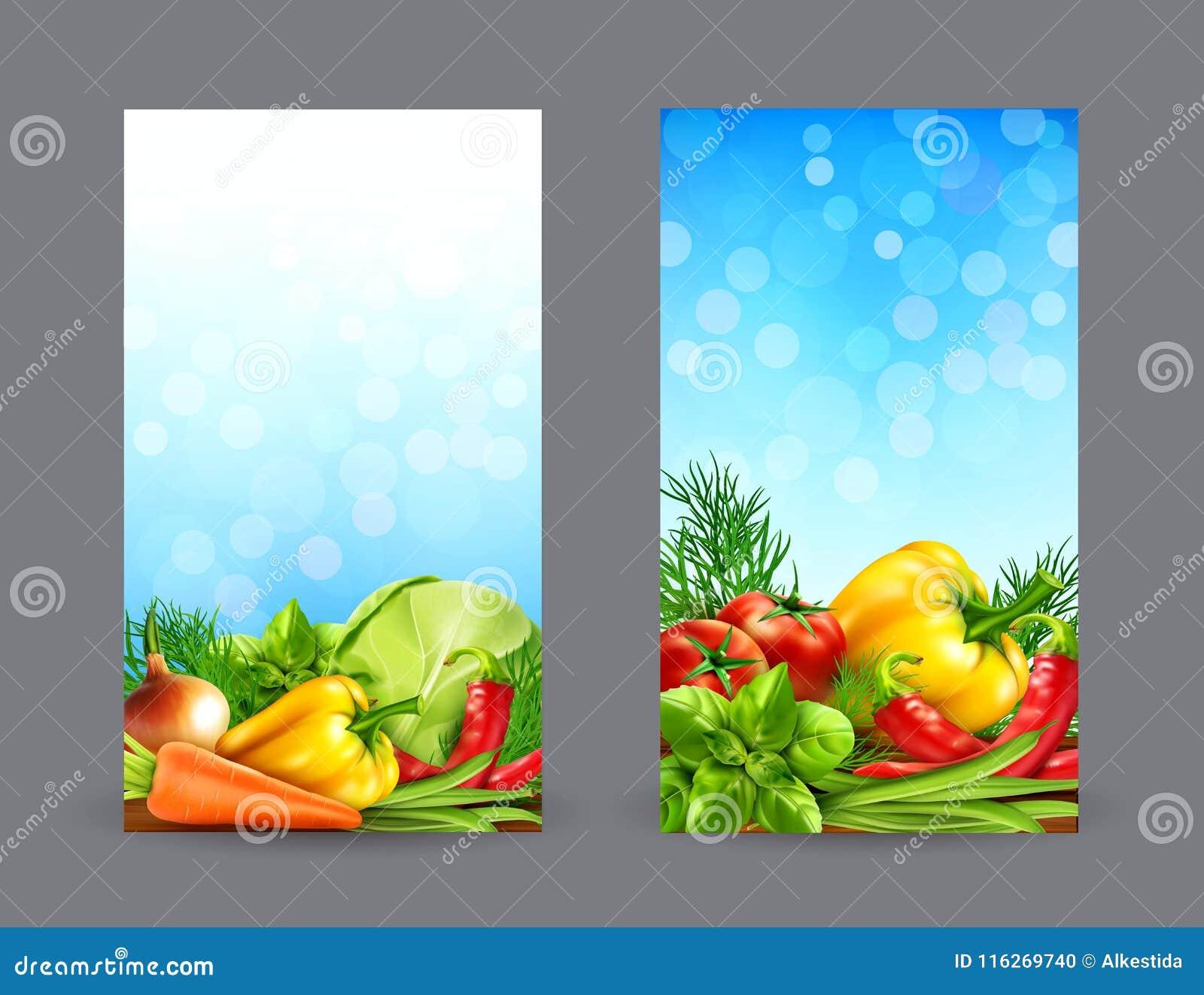 Sistema del vector de dos banderas verticales con las verduras realistas para