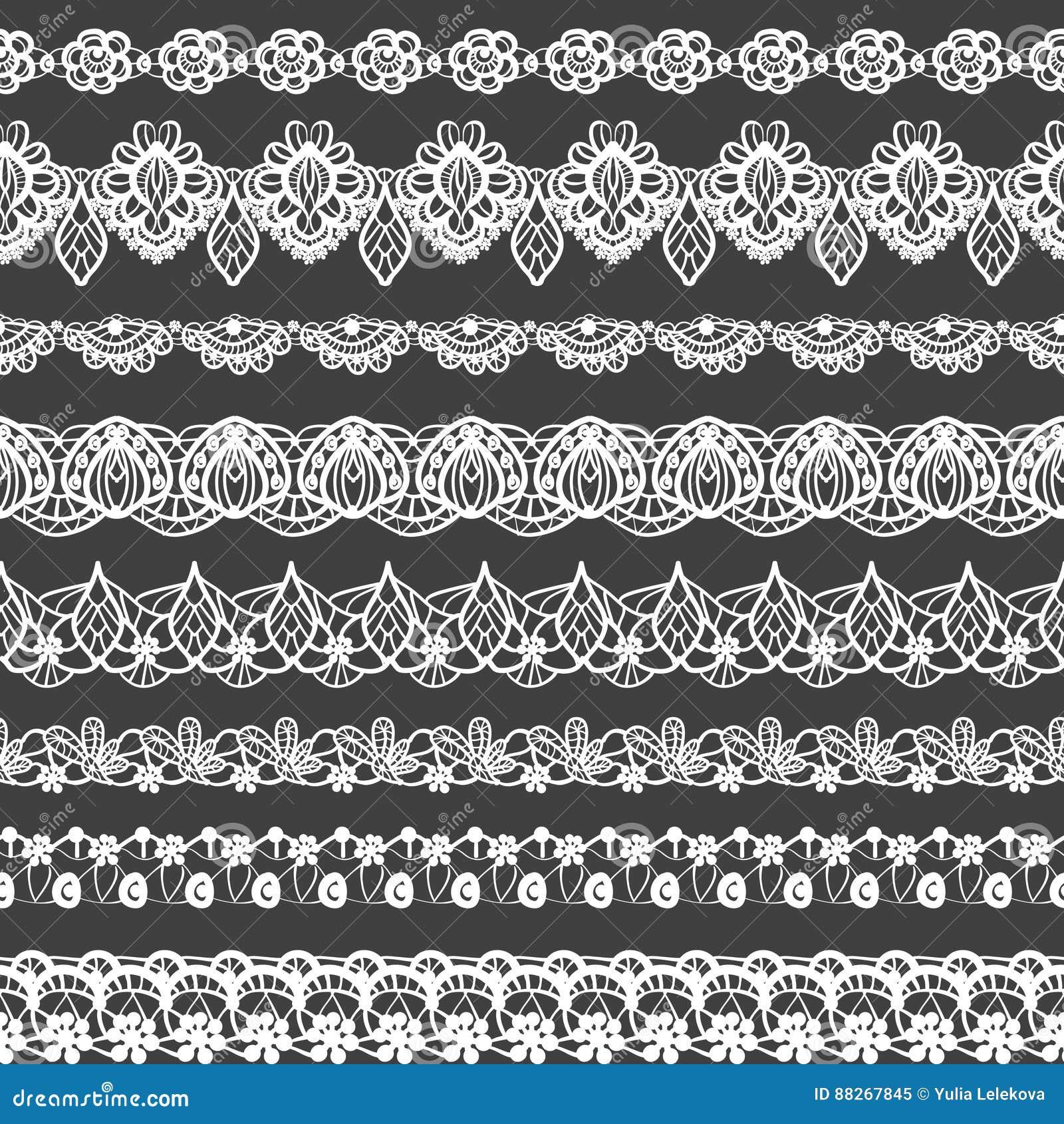 Sistema del vector de fronteras inconsútiles Modelo blanco y negro del cordón para el diseño y la moda Adornos de las flores y de