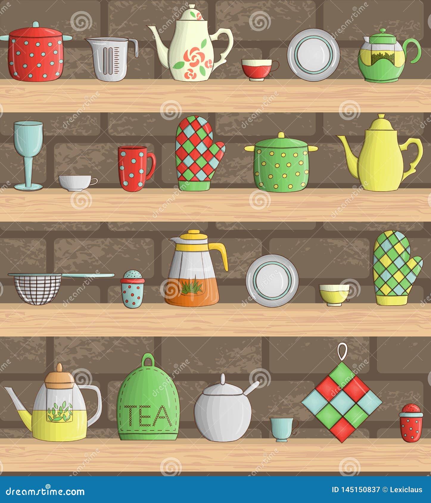 Sistema del vector de herramientas coloreadas de la cocina en estantes con el fondo del ladrillo