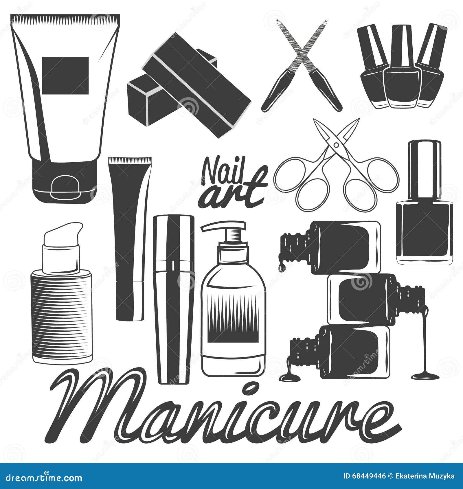 Sistema del vector de herramientas de la manicura manicura for Accesorios para salon de belleza