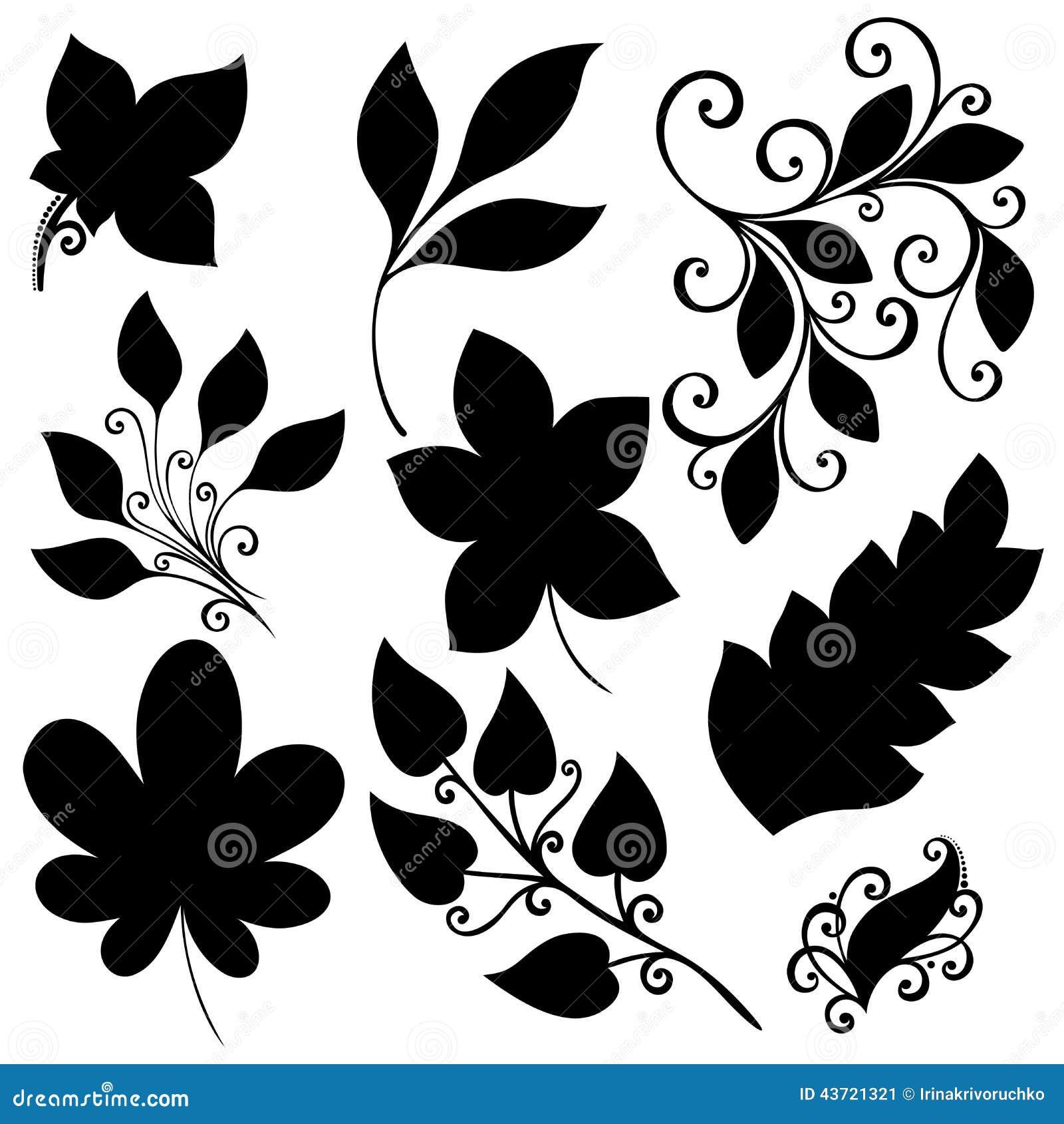 Sistema del vector de hojas plantillas aisladas - Plantillas de dibujos para paredes ...