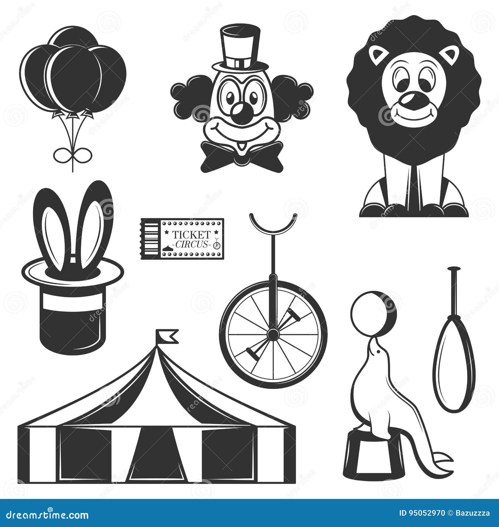 Sistema del vector de iconos aislados circo Símbolos del circo y elementos blancos y negros del diseño