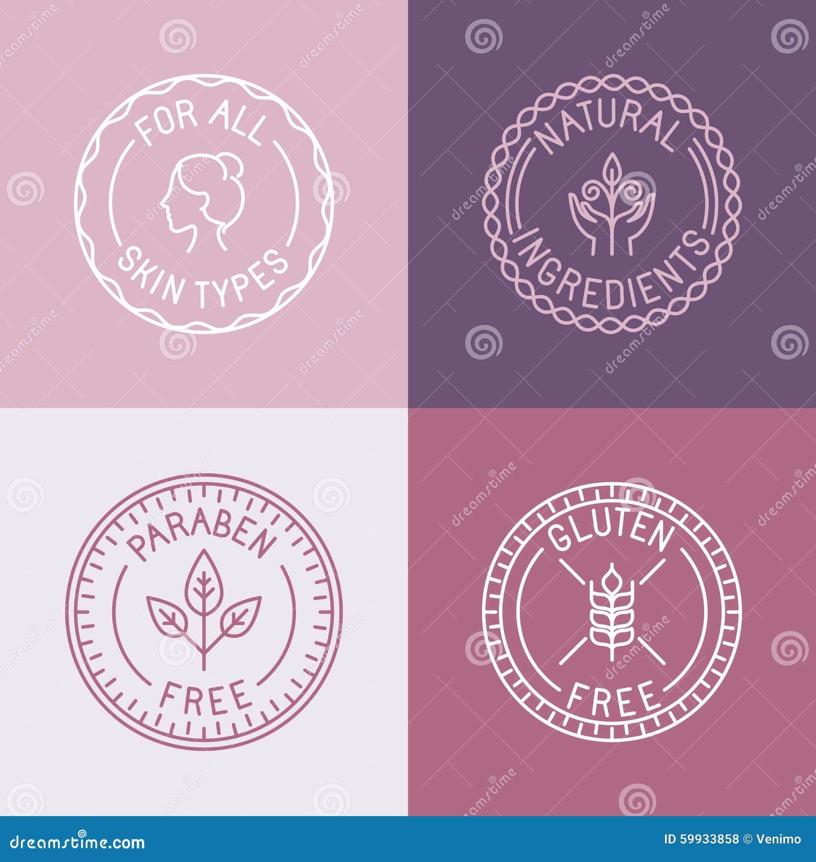 Sistema del vector de insignias y de emblemas en estilo linear de moda