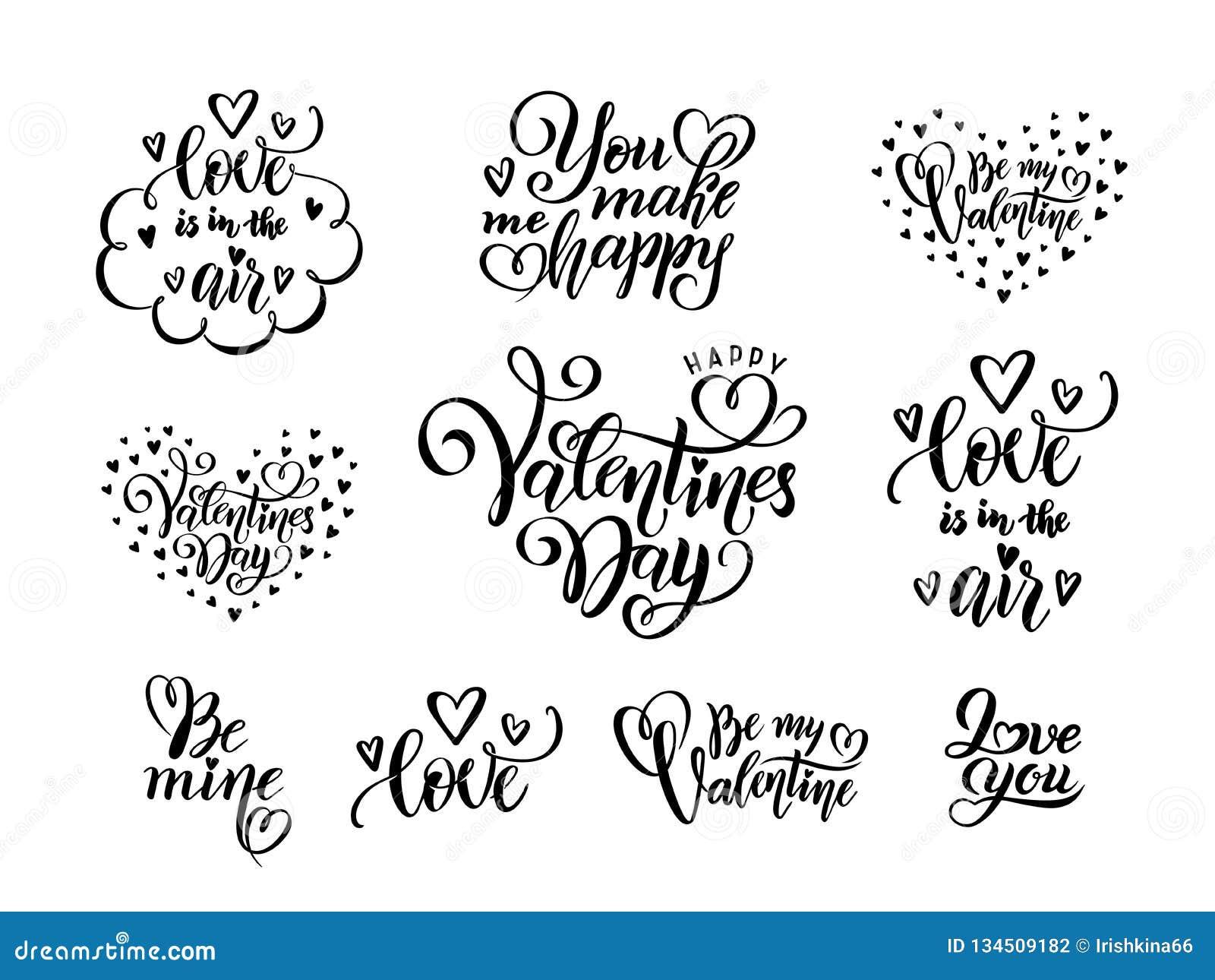 Sistema Del Vector De La Mano Negra Escrito Poniendo Letras A Las Citas A  Día De San Valentín, Concepto De Las Frases Del Amor De Stock de  ilustración - Ilustración de mano,
