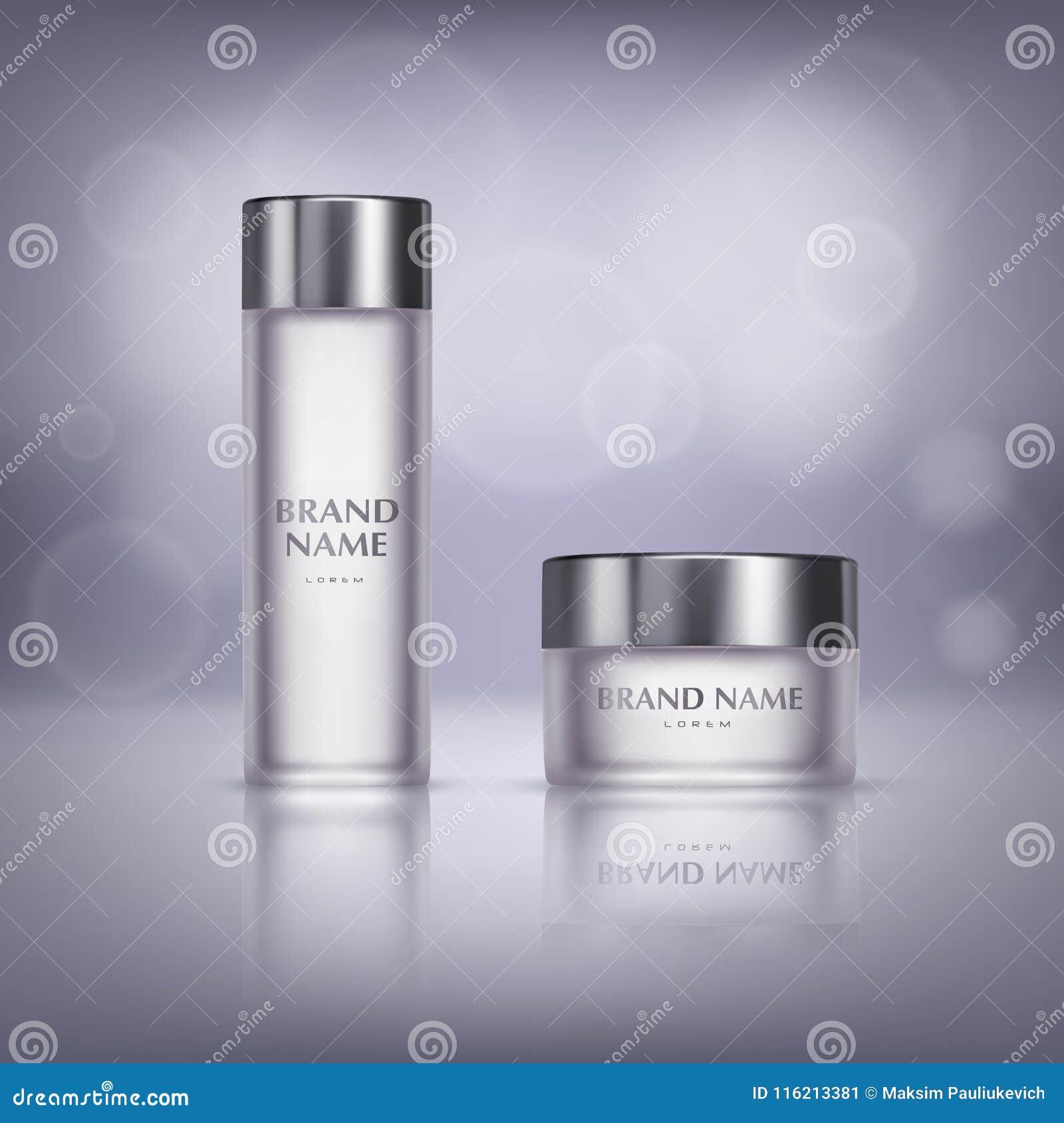 Sistema del vector de las botellas de cristal para los productos cosméticos