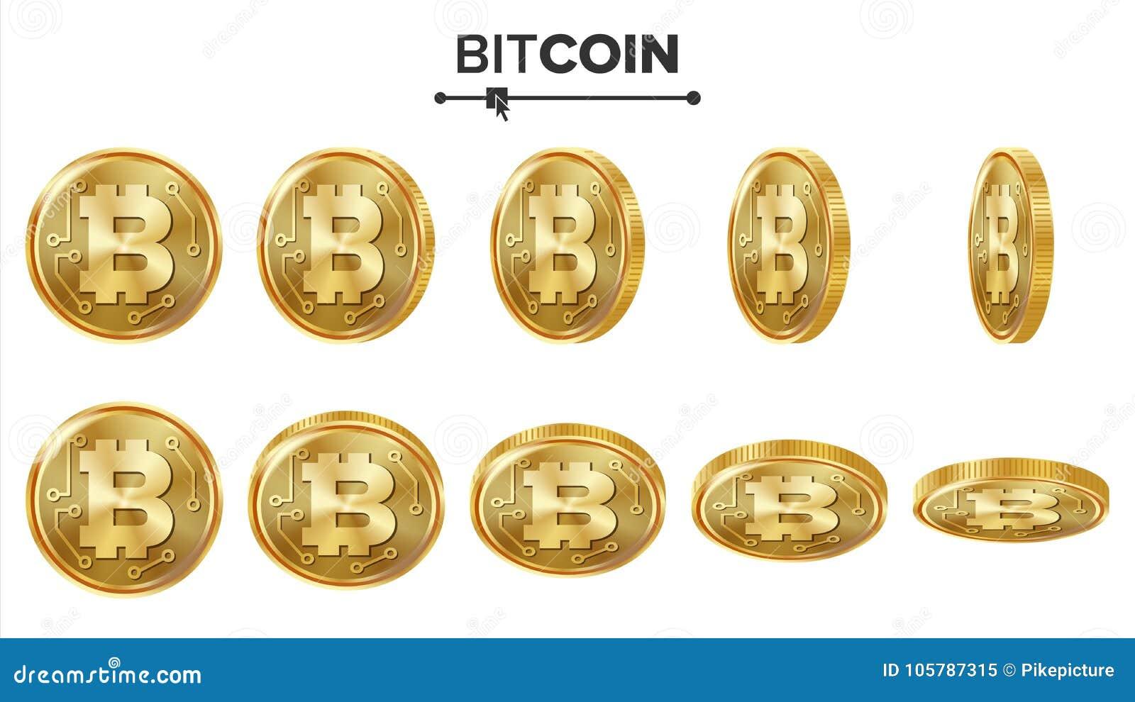 Sistema del vector de las monedas de oro de Bitcoin 3D realista Flip Different Angles Dinero de la moneda de Digitaces Moneda de