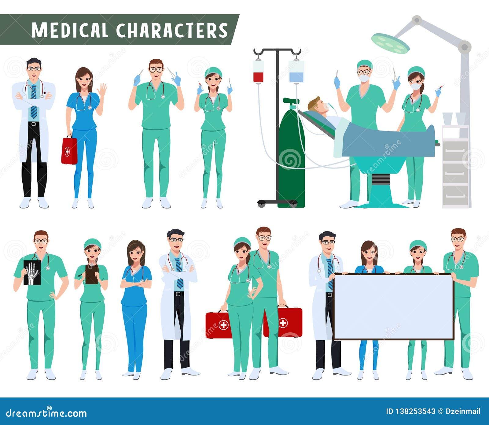 Sistema del vector de los caracteres del cirujano, del doctor y de la enfermera Equipo médico y de la atención sanitaria que hace