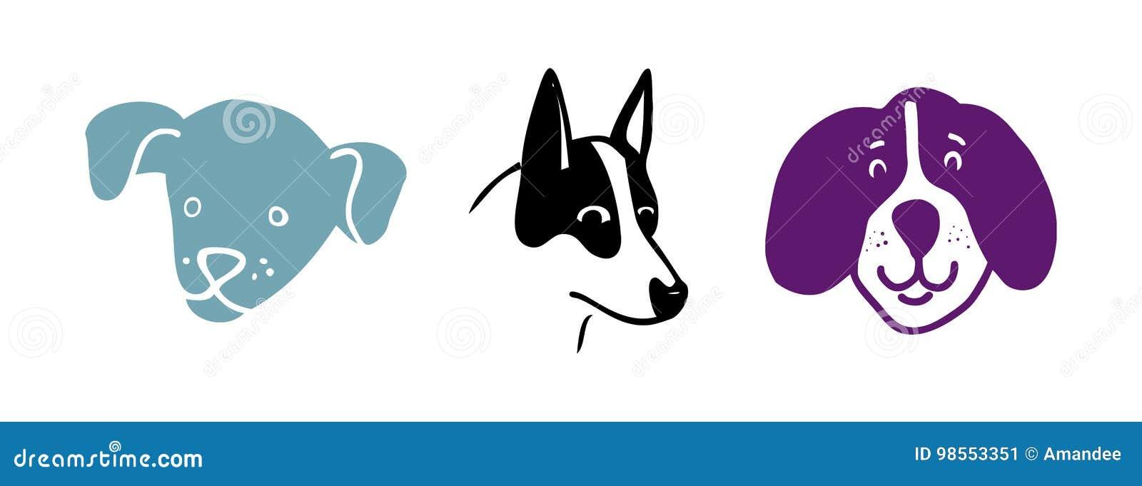 Sistema Del Vector De Los Dibujos Del Perro Perrito O Perritos