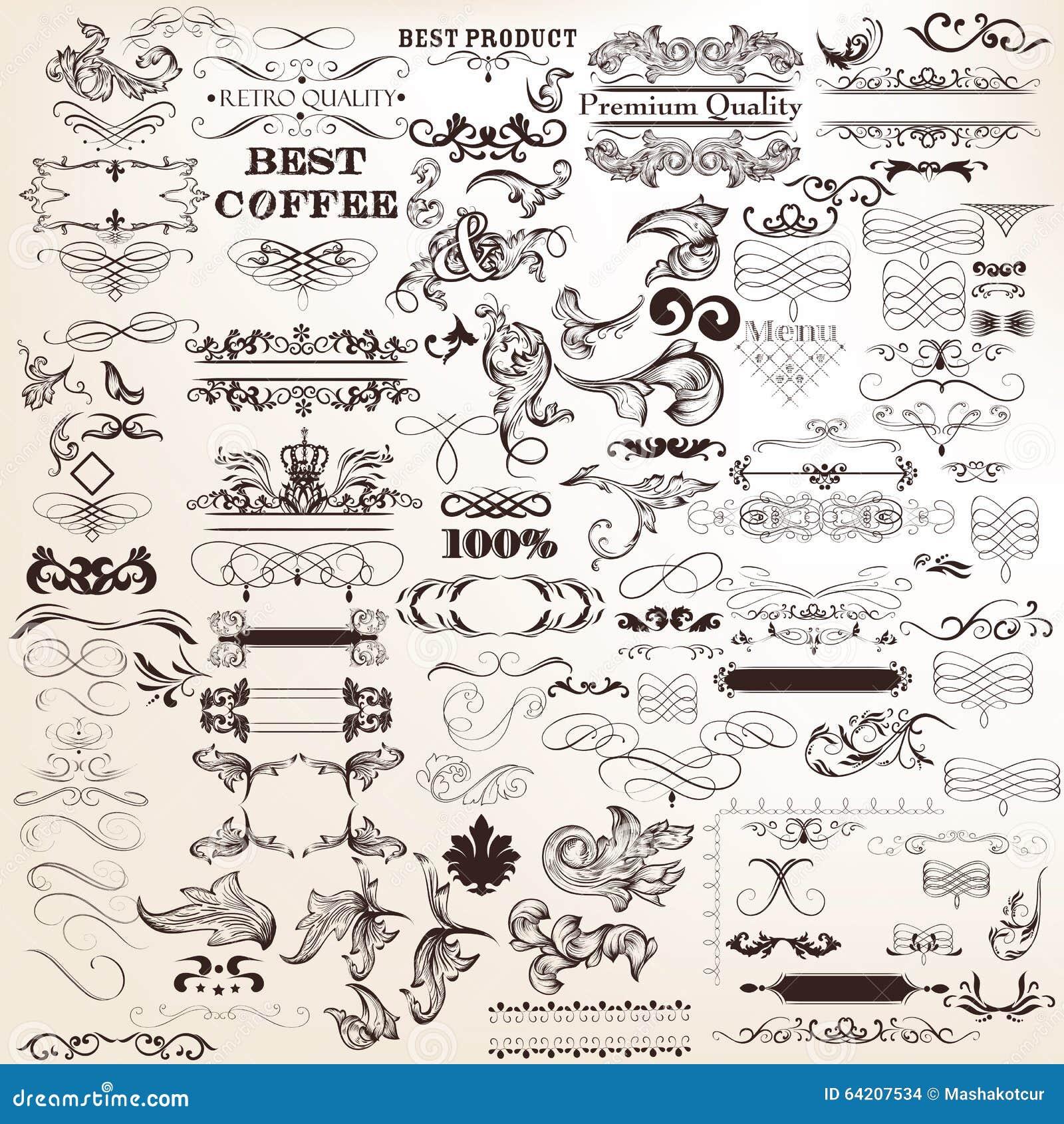Sistema del vector de los elementos caligráficos para el diseño Vec caligráfico